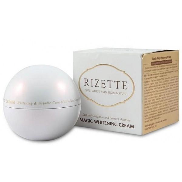 крем осветляющий антивозрастной lioele rizette magic whitening cream plusRizette Magic Whitening Cream Plus. Крем осветляющий антивозрастной<br><br>Роскошная, изысканная баночка с кремом, который позволит вам преобразиться буквально через месяц его использования. Обновленная формула крема содержит микрокапсулы с витамином С, который способствует быстрому улучшению состояния кожи, избавляет от тусклости и желтизны кожи. Этот крем подарит вашей коже молочную белизну и естественное сияние.<br><br>Клинические испытания, которые прошел крем, показали, что он эффективно снижает уровень меланина, отбеливает кожу, ухаживает за ней и разглаживает морщины. Такая многофункциональность крема позволяет буквально через 2 недели регулярного использования уменьшить размеры и интенсивность пигментных пятен, сделать менее заметными темные круги под глазами, веснушки и следы постакне, а кроме того, значительно улучшить состояние кожи, вернуть ей упругость и эластичность.<br><br>Крем, на 85% состоящий из увлажняющих компонентов, подарит вашей коже полноценное увлажнение на 48 часов!!!<br><br>Около 100 видов экстрактов и натуральных масел из лекарственных растений, ягод, фруктов и злаковых культур насыщают кожу невероятно эффективным и мощным коктейлем витаминов, минеральных веществ, аминокислот и других, полезных для красоты и молодости, компонентов. Крем подойдет для любого типа кожи, в том числе для гиперчувствительной и самой капризной.<br><br>Продукт подойдет и просто желающим приобрести аристократичный фарфоровый тон лица. А сокращение мимических морщин, качественное питание и увлажнение станут приятным бонусом. Формула исключает такие враждебные коже составляющие как спирт и парабены, делая продукт полностью безопасным для чувствительного, подверженного аллергии эпидермиса. А отсутствие талька и минеральных масел - гарантия от забивания пор даже для обладательниц жирного и смешанного типов кожи.<br><br>Способ применения: Нанести крем на очищенную и тонизированную кожу лица. Крем 