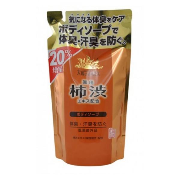 жидкое мыло для тела с экстрактом хурмы (з/б) max taiyounosachi ex body soap (480)Taiyounosachi Ex Body Soap (480). Жидкое мыло для тела с экстрактом хурмы (з/б) <br><br>В состав средства входит экстракт хурмы, содержащий антиоксиданты и витамины А, С, Р, Е, а также танин, обладающий ранозаживляющим и антибактериальным действием.<br>Активные компоненты средства - розмарин, шалфей, базилик японский оказывают противовоспалительное, тонизирующее, сильное антиоксидантное действие, нормализуют деятельность сальных желез, замедляют и уменьшают процесс выработки кожного сала, сужают кожные поры.<br>Действующий компонент мыла изопропилметилфенол препятствует размножению микроорганизмов, вызывающих появление неприятного запаха.<br>Парфюмерная композиция на основе ментола создаёт ощущение свежести во время принятия душа.<br><br>Способ применения: Нанести достаточное количество мыла на губку или мочалку, образовавшейся пеной обработать тело, затем аккуратно смыть.<br><br>Меры предосторожности: не используйте средство, если оно вызывает покраснение, раздражение, зуд или воспаление кожи, проконсультируйтесь с врачом-дерматологом. Избегайте попадания в глаза, при попадании сразу же промойте глаза водой. Храните в недоступных для детей местах.<br><br>Cостав: калийная мыловая основа, амидопропилбетаин лауриновой кислоты, кокамид DEA. лауретсульфат натрия, EDTA-4Na, жидкая 4Na соль гидроксиэтандифосфоновой кислоты, ментол, танин хурмы, экстракт-1 базилика японского, чайный экстракт-1, экстракт розмарина, экстракт корня солодки, экстракт Sasa veitchii, экстракт шалфея, BG, концентрированный глицерин, глицин, цитрат натрия, сульфат цинка, хлорид натрия, красный 102, жёлтый 4, отдушка, регулятор кислотности.<br>400 мл<br>