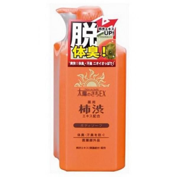 жидкое мыло для тела с экстрактом хурмы max taiyounosachi ex body soapTaiyounosachi Ex Body Soap. Жидкое мыло для тела с экстрактом хурмы <br><br>В состав средства входит экстракт хурмы, содержащий антиоксиданты и витамины А, С, Р, Е, а также танин, обладающий ранозаживляющим и антибактериальным действием.<br>Активные компоненты средства - розмарин, шалфей, базилик японский оказывают противовоспалительное, тонизирующее, сильное антиоксидантное действие, нормализуют деятельность сальных желез, замедляют и уменьшают процесс выработки кожного сала, сужают кожные поры.<br>Действующий компонент мыла изопропилметилфенол препятствует размножению микроорганизмов, вызывающих появление неприятного запаха.<br>Парфюмерная композиция на основе ментола создаёт ощущение свежести во время принятия душа.<br><br>Способ применения: Нанести достаточное количество мыла на губку или мочалку, образовавшейся пеной обработать тело, затем аккуратно смыть.<br><br>Меры предосторожности: не используйте средство, если оно вызывает покраснение, раздражение, зуд или воспаление кожи, проконсультируйтесь с врачом-дерматологом. Избегайте попадания в глаза, при попадании сразу же промойте глаза водой. Храните в недоступных для детей местах.<br><br>Cостав: калийная мыловая основа, амидопропилбетаин лауриновой кислоты, кокамид DEA. лауретсульфат натрия, EDTA-4Na, жидкая 4Na соль гидроксиэтандифосфоновой кислоты, ментол, танин хурмы, экстракт-1 базилика японского, чайный экстракт-1, экстракт розмарина, экстракт корня солодки, экстракт Sasa veitchii, экстракт шалфея, BG, концентрированный глицерин, глицин, цитрат натрия, сульфат цинка, хлорид натрия, красный 102, жёлтый 4, отдушка, регулятор кислотности.<br><br>500 мл<br>