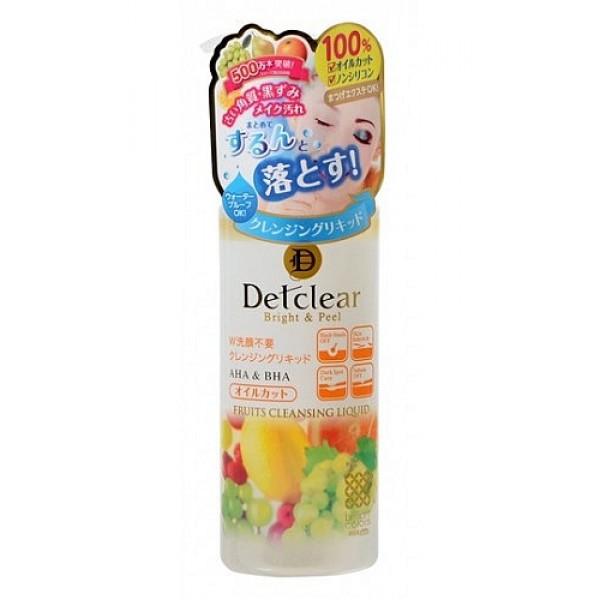 жидкость для снятия макияжа  с aha и bha meishoku aha&amp;bha fruits cleansing liquidAHA&amp;amp;BHA Fruits Cleansing Liquid. Жидкость для снятия макияжа&amp;nbsp; с AHA и BHA - очищающее средство превосходно удаляет макияж, глубоко очищает поры, оказывает мягкое отшелушивающее действие, удаляя ороговевшие клетки верхнего слоя эпидермиса,&amp;nbsp; не оставляет ощущения сухости и стянутости. После использования кожа остается мягкой и гладкой.<br><br>Не содержит масло и силикон, подходит для снятия макияжа с нарощенных ресниц. Хорошо удаляет плотный макияж.<br><br>Не содержит искусственных красителей и спирта.<br><br><br>Активные компоненты:<br><br><br>&amp;nbsp;&amp;nbsp;&amp;nbsp; АНА (альфа-гидрооксикислоты) входят в состав таких фруктовых экстрактов, как экстракты апельсина, груши, ягод черники и малины, лимона, яблока, винограда , которые известны своими очищающими, подтягивающими свойствами, сужают поры, стимулируют процессы регенерации и обновляют клетки эпидермиса.<br><br>&amp;nbsp;&amp;nbsp;&amp;nbsp; ВНА (бета-гидрооксикислоты),&amp;nbsp; входящие в состав вытяжки из коры плакучей ивы, смягчают ороговевшие слои клеток эпидермиса, облегчая и ускоряя их удаление, выравнивают цвет кожи.<br><br>&amp;nbsp;&amp;nbsp;&amp;nbsp; Экстракт ферментированного сока белого винограда мягко отшелушивает ороговевшие клетки, регулирует деятельность сальных желез. Насыщает кожу витаминами, смягчает, заметно улучшает её тонус и структуру.<br><br><br><br>Способ применения: нанесите на ватный диск необходимое количество средства (1-2 нажатия), удалите макияж, аккуратно смойте водой.<br>&amp;nbsp;<br><br>Состав: вода, BG, дипропиленгликоль, PEG -6 и PEG -8 глицериды каприловой и каприновой кислот, PEG -7 глицерил кокоат, PEG-20 глицерил триизостеарат, экстракт молочнокислых бактерий/ферментированного виноградного сока, экстракт плодов апельсина, экстракт плодов черники, экстракт малины, экстракт плодов лимона, экстракт плодов яблок, экстракт сахарного клена, экстракт сахарного тр