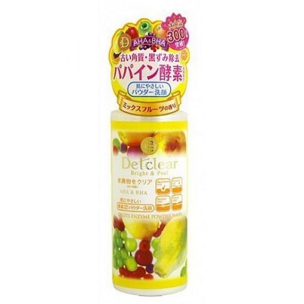 пудра для умывания с эффектом пилинга meishoku aha&amp;bha fruits enzyme powder washAHA&amp;amp;BHA Fruits Enzyme Powder Wash. Пудра для умывания с эффектом пилинга c энзимами при смешивании с водой превращается в нежнейшую пену, мягко очищает поры кожи от загрязнений, излишков кожного жира и ороговевших клеток эпидермиса. Тусклая кожа заметно светлеет, становится гладкой, без загрязнённых расширенных пор и чёрных точек. Улучшается проникновение активных компонентов лосьона и других средств по уходу за кожей лица.<br><br>В составе три группы активных действующих компонентов:<br><br><br>&amp;nbsp;&amp;nbsp;&amp;nbsp; АНА (альфа-гидрооксикислоты) входят в состав таких фруктовых экстрактов как экстракты апельсина, груши, ягод черники и малины, лимона, яблока, винограда. Они известны своими очищающими, подтягивающими и сужающими поры, а также стимулирующими процессы регенерации и обновление клеток эпидермиса свойствами.<br><br>&amp;nbsp;&amp;nbsp;&amp;nbsp; ВНА (бета-гидрооксикислоты) входят в состав вытяжки из коры плакучей ивы, смягчают ороговевшие слои клеток эпидермиса с повышенным содержанием меланина, облегчая и ускоряя их удаление.<br><br>&amp;nbsp;&amp;nbsp;&amp;nbsp; Апельсиновое масло - мягкий очищающий компонент растительного происхождения.<br><br><br><br>Способ применения: высыпать небольшое количество пудры на ладонь, вспенить и нанести массажными движениями на лицо. Смыть теплой водой.<br><br>Состав: кукурузный крахмал, калия миристат, калия лаурат, сорбитол, калия пальмитат, калия стеарат, калия олеат, диоксид кремния, отдушка, вода, папаин, яблочная кислота, винная кислота, aпельсиновое масло, BG, экстракт груши, циклодекстрин, экстракт черники, экстракт коры черной ивы, сахароза, экстракт сахарного тросника, салициловая кислота, экстракт лимона, экстракт апельсина, экстракт клена сахарного, экстракт малины, экстракт яблока, пальмовое масло.<br><br>Меры предосторожности: при покраснении, зуде, раздражении после применения прекратите использование средств