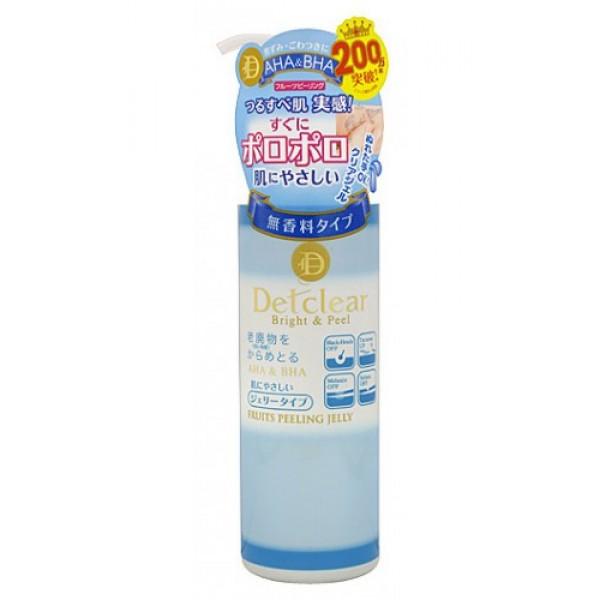 пилинг-гель с эффектом легкого скатывания meishoku aha&amp;bha peeling gel fruitsAHA&amp;amp;BHA Peeling Gel Fruits. Очищающий пилинг-гель с AHA и BHA с эффектом легкого скатывания <br><br>Пилинг-гель слабой кислотности без аромата мягко очищает поры кожи от загрязнений, излишков кожного жира и ороговевших клеток эпидермиса, скопление которых приводит к тусклому цвету лица, становится причиной появления чёрных точек и заметных расширенных пор.<br><br>В составе - две группы активных действующих компонентов:<br><br><br>&amp;nbsp;&amp;nbsp;&amp;nbsp; АНА (альфа-гидрооксикислоты) - входят в состав таких фруктовых экстрактов, как экстракты лимона, яблока, мушмулы, винограда - известны своими очищающими, подтягивающими и сужающими поры, а также стимулирующими процессы регенерации и обновление клеток эпидермиса свойствами.<br><br>&amp;nbsp;&amp;nbsp;&amp;nbsp; ВНА (бета-гидрооксикислоты) - входят в состав вытяжки из коры плакучей ивы - смягчают ороговевшие слои клеток эпидермиса с повышенным содержанием меланина, облегчая и ускоряя их удаление.<br><br><br><br>Действие пилинг-геля основано на мягком скатывании загрязнений круговыми массажными движениями и моментальном отшелушивании ороговевших клеток эпидермиса под действием альфа и бета-гидрооксикислот (AHA&amp;amp;BHA). Тусклая кожа заметно светлеет, становится гладкой, без загрязнённых расширенных пор и чёрных точек. Улучшает проникновение активных компонентов лосьона и других средств по уходу за кожей лица (молочка, крема и т. д. ).<br><br>Способ применения: Наносится после удаления макияжа на чистую, влажную кожу. Кончиками пальцев нанесите тонким слоем на желаемые участи кожи (с загрязнёнными порами). Начните скатывание массирующими круговыми движениями до тех пор, пока кончики пальцев не будут скользить по поверхности кожи. Смойте остатки пилинг-геля водой. При затруднении скатывания, после нанесения оставьте пилинг-гель на несколько секунд, после чего начните скатывание медленными круговыми движениями.<br><br>Рекоме