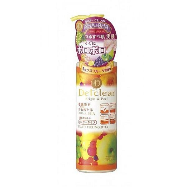 очищающий пилинг - гель с aha и bha meishoku aha&amp;bha peeling gelAHA&amp;amp;BHA Peeling Gel.&amp;nbsp;Пилинг-гель слабой кислотности с ароматом фруктов мягко очищает поры кожи от загрязнений, излишков кожного жира и ороговевших клеток эпидермиса, скопление которых приводит к тусклому цвету лица, становится причиной появления чёрных точек и заметных расширенных пор.<br><br>В составе три группы активных действующих компонентов:<br><br><br>АНА (альфа-гидрооксикислоты) входят в состав таких фруктовых экстрактов, как экстракты апельсина, груши, ягод черники и малины, лимона, яблока, винограда известны своими очищающими, подтягивающими и сужающими поры, а также стимулирующими процессы регенерации и обновление клеток эпидермиса свойствами.<br><br>ВНА (бета-гидрооксикислоты) входят в состав вытяжки из коры плакучей ивы смягчают ороговевшие слои клеток эпидермиса с повышенным содержанием меланина, облегчая и ускоряя их удаление.<br><br>Апельсиновое масло мягкий очищающий компонент растительного происхождения. Действие пилинг-геля основано на сильном скатывании загрязнений круговыми массажными движениями и моментальном отшелушивании ороговевших клеток эпидермиса под действием альфа и бета-гидрооксикислот (AHA&amp;amp;BHA). Тусклая кожа заметно светлеет, становится гладкой, без загрязнённых расширенных пор и чёрных точек. Улучшает проникновение активных компонентов лосьона и других средств по уходу за кожей лица (молочка, крема и т. д. ).<br><br><br><br>Способ применения: Наносится после удаления макияжа перед умыванием на сухую кожу. Кончиками пальцев нанесите тонким слоем на желаемые участи кожи (с загрязнёнными порами). Начните скатывание массирующими круговыми движениями до тех пор, пока кончики пальцев не будут скользить по поверхности кожи. Смойте остатки пилинг-геля водой с использованием обычного средства для умывания. При затруднении скатывания, после нанесения оставьте пилинг-гель на несколько секунд, после чего начните скатывание медленными круговыми движениями.
