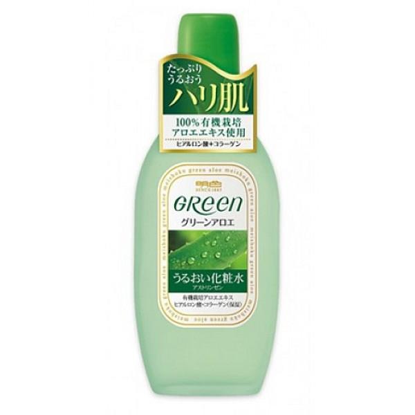 лосьон, увлажняющий и подтягивающий кожу лица meishoku green plus aloe astringentGreen Plus Aloe Astringent. Лосьон, увлажняющий и подтягивающий кожу лица эффективно борется с морщинами и темными пятнами. Обладает вяжущим действием. Сужает поры. Подходит для очень сухой кожи. Содержит натуральные растительные компоненты, которые увлажняют кожу и придают ей эластичность.<br><br>Активный комплекс:<br><br><br>&amp;nbsp;&amp;nbsp;&amp;nbsp; Коллаген - борется с морщинами и темными пятнами, придает коже эластичность.<br><br>&amp;nbsp;&amp;nbsp;&amp;nbsp; Экстракт алоэ - обильно увлажняет кожу, предотвращая ее огрубление.<br><br>&amp;nbsp;&amp;nbsp;&amp;nbsp; Гиалуроновая кислота - надолго удерживает влагу, способствует поддержанию нормального водного баланса и регенерации клеток кожи.<br><br><br>Способ применения: нанести с помощью тампона на чистую кожу лица. На проблемные участки кожи наносить лосьон похлопыванием.<br><br>Меры предосторожности: не использовать при появлении покраснений, зуда, раздражения кожи. В случае возникновения аллергических реакций, прекратите использование средства и проконсультируйтесь с дерматологом.<br><br>Состав: вода, глицерин, бетаин, этанол, гидролизованный коллаген, гиалуроновая кислота, экстракт алоэ, лимонная кислота.<br><br>170 мл.<br>