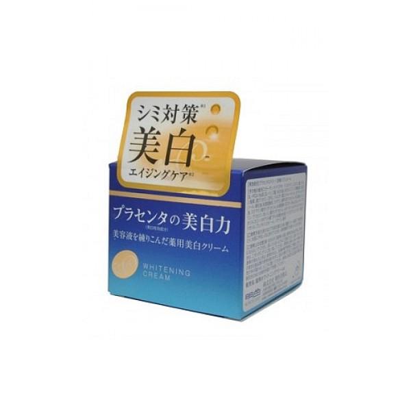 крем с экстрактом плаценты с отбеливанием meishoku placenta whitening creamPlacenta Whitening Cream. Крем с экстрактом плаценты (с отбеливающим эффектом) - Антивозрастное средство! <br><br>Предупреждает появление пигментных пятен!<br>Увлажняет и отбеливает кожу, придавая ей здоровый и сияющий вид!<br>Сила отбеливания - в плаценте!<br>Крем глубоко увлажняет, поддерживает оптимальный уровень влаги в клетках кожи, придаёт ей упругость и эластичность.<br><br>Активные компоненты в составе средства обладают увлажняющими, восстанавливающими и отбеливающими свойствами:<br><br><br>Экстракт плаценты регулирует образование меланина в клетках кожи, предупреждая тем самым появление пигментных пятен и веснушек. Предотвращает сухость, увлажняет. Кожа становится более здоровой и сияющей.<br><br>Коллаген увлажняет, предупреждает появление морщинок.<br><br>Экстракты перловой крупы и шелковицы - увлажняющие растительные экстракты, обладают отбеливающими свойствами.<br><br><br>В составе средства используется экстракт плаценты высокой очистки и только собственного производства.<br><br>Способ применения: нанесите на очищенную кожу лица необходимое количество средства кончиками пальцев и равномерно распределите. Используйте крем как дневной и ночной.<br><br>Состав: вода, экстракт плаценты-1, витамин Е, коллаген, трипептид F, экстракт перловой крупы, шелковица, DL-PCA Na (р-р), DL-яблочная кислота, масло рисовых отрубей, сфинголипиды из рисовых отрубей, фосфолипиды из соевых бобов, насыщенный глицерин, DPG, этилгексил пальмитат, октилдодеканол, твёрдые масла, регулятор вязкости, POE глицерила стеарат, POE твёрдое касторовое масло, полиглицерила стеарат, регулятор уровня pH, EDTA-2Na, BG, оксипролин, полиглицерил олеат, метакрилоилоксиэтил фосфорилколин, бутил метакрилат (р-р сополимера), три (каприл/каприновая кислота) глицерил, феноксиэтанол, парабен, парфюмерная отдушка.<br><br>Меры предосторожности: не использовать при появлении покраснений, зуда, раздражения кожи. В случае возникновени