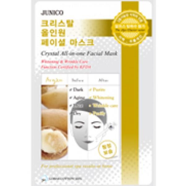 маска тканевая c аргановым маслом mijin junico crystal all-in-one facial mask arganJunico Crystal All-in-one Facial Mask Argan. Маска тканевая c аргановым маслом сильно впитывающая и очень эффективная для стягивания пор кожи и удаления отходов. Это сохраняет в коже влагу и упругость в течение 24 часов. Ее функции одобрены KFDA, маска может значительно помочь с отбеливанием кожи и удалением морщин.<br><br>Способ применения: Поместите маску на очищеное лицо обеспечив хороший контакт с&amp;nbsp; кожей лица по всей площади нанесения. Снимите через 10-15 минут. Оставшуюся на лице эссенцию аккуратно разгладьте пальцами по косметическим линиям для лучшего впитывания в кожу.&amp;nbsp; &amp;nbsp;<br><br>Объем: 25гр<br><br>Дата изготовления&amp;nbsp; (срок годности) указана на&amp;nbsp; упаковке<br><br>Вес г: 25.00000000