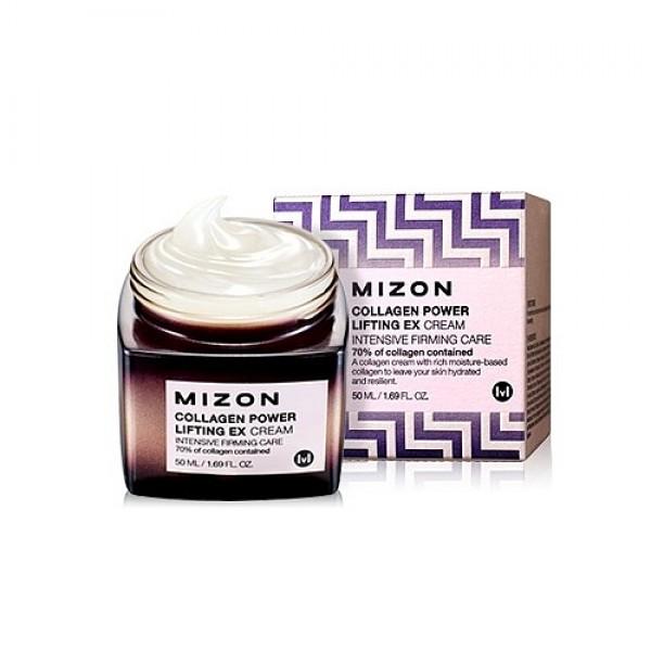 крем коллагеновый 70%Collagen Power Lifting Ex Cream. Крем коллагеновый 70%<br><br>Уменьшить глубину выраженных морщин и разгладить мелкие, вернуть коже упругость и эластичность, восстановить ее мягкость и гладкость, сделать овал более четким, а также поддерживать оптимальный уровень увлажнения в течение дня поможет крем от Мизон с инновационным комплексом компонентов.<br><br>&amp;nbsp;<br><br>Крем подходит для любого типа кожи, рекомендуется для возрастной группы 30-35+ лет, однако, при наличии выраженных проблем может использоваться в более раннем возрасте.<br><br>&amp;nbsp;<br><br>В составе крема запатентованный компонент Hyaluronic Collagen – уникальный комплекс, сочетающий низкомолекулярный морской коллаген и гиалуроновую кислоту, которые обладают высокой проникающей способностью и воздействуют на кожу на клеточном уровне.<br><br>&amp;nbsp;<br><br>Гидролизованный низкомолекулярный коллаген (Hydrolyzed Collagen) – способствует общему улучшению состояния кожи: способствует разглаживанию морщин и выравниванию рельефа кожи, повышает ее упругость и эластичность. Гидролизованный коллаген помимо укрепляющего воздействия обладает ранозаживляющими и успокаивающими свойствами, а также помогает удержанию влаги в глубоких слоях кожи. Благодаря своим свойствам коллаген оказывает регенерирующее действие, ускоряет восстановление поврежденных клеток кожи, благодаря чему эффективно омолаживает кожу и борется с ее возрастными изменениями.<br><br>&amp;nbsp;<br><br>Гидролизованная гиалуроновая кислота (Hydrolyzed Hyaluronic Acid) – способствует глубокому увлажнению кожи и создает на коже невидимый барьер, предотвращающий трансэпидермальную потерю влаги. Помимо этого, гиалуроновая кислота способствует регенерации эпидермиса, а также стимулирует синтез коллагена, благодаря чему увеличивает упругость кожи, разглаживает мелкие морщинки, делает кожу гладкой и нежной.<br><br>&amp;nbsp;<br><br>Также в составе крема комплекс растительных экстрактов, усиливающих увлажняющее и успокаивающее