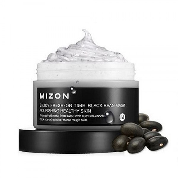 маска для лица с черными соевыми бобамиEnjoy Fresh-On Time Black Been Mask. Маска для лица с черными соевыми бобами для питания и увлажнения зрелой кожи<br><br>Средство из серии увлажняющих масок, разработанных для разных типов кожи и оказывающих, кроме увлажнения, различное действие.<br><br>&amp;nbsp;<br><br>Маска MIZON Enjoy Fresh-On Time Black Bean Mask на основе черных соевых бобов обладает выраженным anti-age эффектом.<br><br>&amp;nbsp;<br><br>Гидролизованные протеины сои способствуют разглаживанию морщин и глубоко увлажняют кожу. Изофлавоны сои оказывают эффективное воздействие на состояние кожи, влияя на регенерационные процессы клеток, защищают от гормонального старения. Маска с соевыми бобами прекрасно омолаживает, увлажняет и питает, восстанавливает кожу на клеточном уровне. Кроме того, соевые бобы помогают справиться с воспалениями и раздражениями кожи.<br><br>&amp;nbsp;<br><br>Регулярное применение маски делает кожу молодой, гладкой и упругой, лицо становится отдохнувшим и сияющим.<br><br>&amp;nbsp;<br><br>Способ применения: Нанести маску на очищенную кожу лица. Через 10-15 минут маску смыть теплой водой. Рекомендуется использовать 2 раза в неделю.<br><br>&amp;nbsp;<br><br>Объём: 100 мл<br>