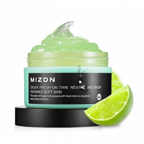 маска для лица с лаймомEnjoy Fresh-On Time Revital Lime Mask. Маска с лаймом для улучшения тона кожи и увлажнения<br><br>Средство из серии увлажняющих масок, разработанных для разных типов кожи и оказывающих, кроме увлажнения, различное действие.<br><br>&amp;nbsp;<br><br>Маска с экстрактом лайма предназначена для тусклой и уставшей кожи, потерявшей свою природную яркость и упругость. Маска с экстрактом лайма поможет выровнять тон кожи и улучшить ее текстуру, сделать кожу гладкой и шелковистой. Не лишней будет маска и для нормальной кожи в качестве профилактики ее увядания.<br><br>&amp;nbsp;<br><br>Лайм, близкий родственник лимона, по сравнению с ним содержит еще больше лимонной и аскорбиновой кислоты. Экстракт лайма обладает антисептическим и антивирусным действием, очищает кожу и препятствует размножению микробов. Лайм обладает подтягивающим эффектом, поэтому способен бороться с потерей упругости кожи.<br><br>&amp;nbsp;<br><br>Экстракт лайма оказывает легкое отшелушивающее действие, удаляет с поверхности кожи ороговевшие клетки – кожа становится гладкой, свежей, обновленной. Высокое содержание витамина С в лайме способствует осветлению кожи (уменьшается интенсивность пигментных пятен и предотвращается появление новых).<br><br>&amp;nbsp;<br><br>Регулярное применение маски MIZON Enjoy Fresh-On Time Revital Lime Mask позволяет значительно восстановить кожу, она становится мягкой и шелковистой, ее тон выравнивается, становится светлее и свежее.<br><br>&amp;nbsp;<br><br>Способ применения: Нанести маску на очищенную кожу лица. Через 10-15 минут маску смыть теплой водой. Рекомендуется использовать 2 раза в неделю.<br><br>&amp;nbsp;<br><br>Объём: 100 мл<br><br>&amp;nbsp;<br>