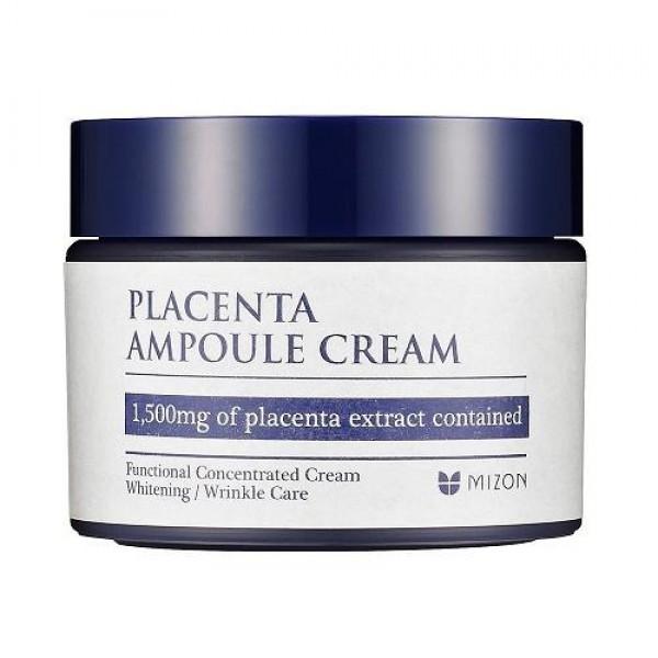 крем плацентарный mizon placenta ampoule creamPlacenta Ampoule Cream. Крем плацентарный антивозрастной, укрепляющий и питательный<br><br>Placenta Ampoule Cream - многофункциональный крем для возрастной кожи, также подходит для ухода за жирной и проблемной кожей.<br><br>&amp;nbsp;<br><br>Регулярное применение крема разглаживает кожу, сокращает морщины и препятствует появлению новых, делает кожу упругой, эластичной. Цвет лица улучшается, становится ровнее.<br><br>&amp;nbsp;<br><br>Крем, в основе которого высококонцентрированная плацентарная вытяжка, укрепляет и питает кожу лица, эффективно восстанавливает её и омолаживает. <br><br>&amp;nbsp;<br><br>Антиоксидантные и иммуностимулирующие вещества, входящие в состав крема, блокируют действие свободных радикалов, замедляя процесс старения кожи. Крем на основе плаценты по своему составу близок к структуре кожи, поэтому он беспрепятственно проникает в неё, омолаживая и изнутри.<br><br>&amp;nbsp;<br><br>Плацентарный крем Placenta Ampoule Cream благодаря входящим растительным компонентам обладает противовоспалительным действием, поэтому рекомендуется для ухода за проблемной кожей с различными высыпаниями.<br><br>&amp;nbsp;<br><br>При применении на проблемной коже:<br><br>• Уменьшаются воспаления на коже;<br><br>• Расширенные поры сужаются;<br><br>• Предупреждается возникновение новых воспалений;<br><br>• Профилактика постугревого пигментирования кожи и рубцов.<br><br>&amp;nbsp;<br><br>Не содержит красителей, отдушек, парабенов.<br><br>&amp;nbsp;<br><br>Крем предназначен для всех типов кожи, особенно для зрелой и проблемной, склонной к высыпаниям и акне.<br><br>&amp;nbsp;<br><br>Активные компоненты:<br><br><br>Ферментированная плацентарная вытяжка (содержание в креме 45%) – уникальный «коктейль» из ферментов, аминокислот, витаминов и микроэлементов, увлажняющий и смягчающий кожу. Обладает лифтинговым эффектом, выравнивает текстуру кожи, обновляет её.<br><br>Гиалуроновая кислота – натуральный увлажнитель кожи.<br><br>Бета-глюка