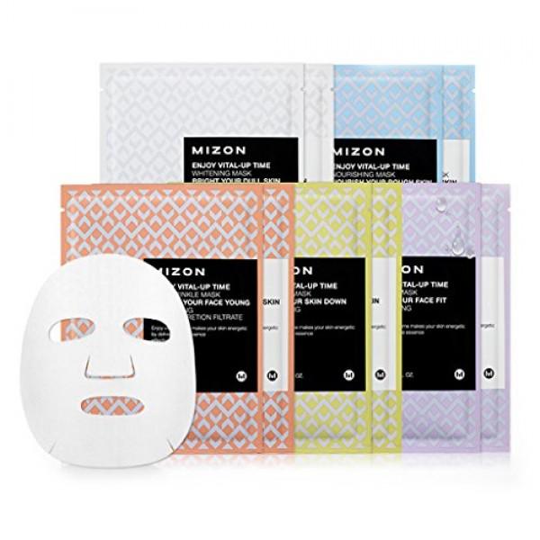 маска листовая для лица mizon enjoy vital-up time maskEnjoy Vital-Up Time Mask. Маска листовая для лица<br><br>Серия масок от Mizon предназначена для возвращения коже молодости и жизненной силы. В составе эссенции, которой пропитаны маски, аллантоин (успокаивает и обновляет кожу), трегалоза (обеспечивает кожу влагой), гиалуроновая кислота (привлекает и связывает большое количество влаги в коже), бета-глюкан (увлажняет и успокаивает кожу, стимулирует выработку коллагена). Также каждая маска содержит компоненты, позволяющие решить различные проблемы кожи.<br><br><br>Enjoy Vital-Up Time Tone Up Mask – маска осветляющая с экстрактом лимона<br><br><br>Экстракт лимона, богатый витамином C, оказывает выраженное тонизирующее действие, регулирует работу сальных желез, способствует отшелушиванию ороговевших клеток кожи и осветлению пигментации. Маска делает кожу более здоровой, повышает ее иммунитет и защитные функции.<br><br><br>Enjoy Vital-Up Time Whitening Mask – маска осветляющая<br><br><br>Маска содержит комплекс белых экстрактов (эдельвейс и ландыш), которые помогают осветлить кожу лица, сделать тон ровным и свежим. Кроме того, маска увлажняет и тонизирует кожу, способствует разглаживанию мимических морщинок, делает кожу более упругой и гладкой.<br><br><br>Enjoy Vital-Up Time Lift Up Mask – маска с лифтинг эффектом<br><br><br>Маска с ярко выраженным лифтинговым действием, предназначена для возрастной кожи. Гидролизованный низкомолекулярный коллаген способствует разглаживанию морщин и выравниванию рельефа кожи, повышает ее упругость и эластичность. Маска эффективно омолаживает кожу и борется с ее возрастными изменениями.<br><br><br><br>Enjoy Vital-Up Time Calming Mask – маска успокаивающая с прополисом<br><br><br>Прополис ускоряет обновление тканей и способствует более интенсивному проникновению полезных веществ в глубокие слои кожи, уменьшает проявление кожных высыпаний, выравнивает тон кожи, придает ей красивый и естественный цвет.<br><br><br>Enjoy Vital-Up Time Firmin