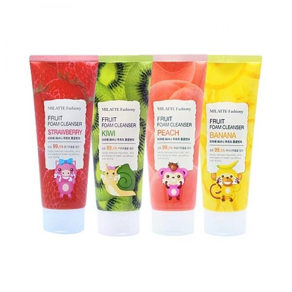 пенка для умывания фруктоваяMilatte Fashiony Fruit Foam Cleanser. Пенка для умывания фруктовая<br><br>Густая и упругая пенка, насыщенная кислородом, способствует бережному очищению кожи лица от загрязнений, а также макияжа. Может использоваться для любого типа кожи, после применения не вызывает сухость и чувство стянутости. Легкие фруктово-ягодные ароматы делают процесс умывания приятным: кожа заряжается силой витаминов, улучшается настроение.<br><br>&amp;nbsp;<br><br>В составе пенки гиалуроновая кислота, экстракт семян чиа, экстракт алоэ вера, а также фруктовые экстракты.<br><br>&amp;nbsp;<br><br>Гиалуроновая кислота регулирует уровень влаги в межклеточном пространстве, притягивает и связывает воду в клетках кожи, предупреждая ее обезвоживание.<br><br>Гиалуроновая кислота улучшает метаболизм клеток, тем самым ускоряет синтез коллагена и эластина, что приводит к повышению упругости и разглаживанию морщин.<br><br>&amp;nbsp;<br><br>Экстракт семян чиа – самый богатый растительный источник омега жирных кислот. Кроме того, содержаниие фитостеролов, флавоноидов, фенольной и кофейной кислот, витамина Е, полифенольных антиоксидантов и других биологически активных компонентов делает экстракт чиа необычайно полезным для кожи. Он оказывает всестороннее омолаживающее действие, обладает выраженными увлажняющими, смягчающими и противовоспалительными свойствами, снимает покраснения, повышает эластичность кожи, восстанавливает защитный барьер кожи.<br><br>&amp;nbsp;<br><br>Экстракт алоэ вера подходит для сухой или жирной, нормальной или чувствительной, проблемной юношеской или зрелой кожи. Каждому типу алоэ подарит необходимый уход: увлажнит и тонизирует, успокоит и разгладит, ускорит заживление воспалений и будет регулировать работу сальных желез.<br><br>&amp;nbsp;<br><br>Пенка выпускается в 4 вариантах:<br><br>&amp;nbsp;<br><br>01. Milatte Fashiony Fruit Foam Cleanser Banana – пенка для умывания с экстрактом банана<br><br>Экстракт банана комплексно воздействует на состояние кожи: