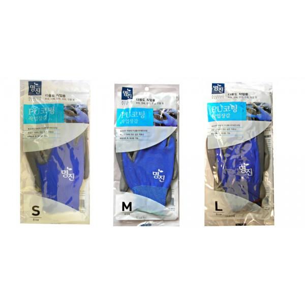 перчатки хозяйственные с полиуретановым покрытием myungjin hygienic glove coatingHygienic Glove Coating. Перчатки хозяйственные с полиуретановым покрытием<br><br>Многофункциональные перчатки с полиуретановым покрытием защищают руки во время проведения бытовых и хозяйственных работ. Перчатки удобны в использовании, гигиеничны, долговечны.<br><br>Характеристики продукции:<br><br><br>полиуретановое покрытие на ладонях обеспечивает прочность и высокую износоустойчивость;<br><br>перчатки легкие и тонкие, сохраняют хорошую чувствительность пальцев;<br><br>превосходная эластичность, удобство при носке;<br><br>пропускают воздух, не позволяя рукам потеть.<br><br><br>После стирки можно использовать повторно.<br><br>Способ применения: используйте перчатки в бытовых и хозяйственных целях. *После стирки в теплой воде перчатки можно использовать повторно, но в случае истирания их следует заменить.<br>Сушить в тени.<br><br>Меры предосторожности: в случае появления зуда, мозолей, аллергии и прочих симптомов следует прекратить использование перчаток. Запрещается использование перчаток при проведении работ с электричеством из-за опасности удара электрическим током. Резиновая поверхность перчаток на ладонях водопроницаема, поэтому следует соблюдать осторожность при работе с жидкостями. Не прикасаться к горячим предметам, температура которых превышает 60°С.<br><br>Состав: полиамид, полиуретан.<br><br>Размеры: L, S, M<br><br>Вес г: 50.00000000