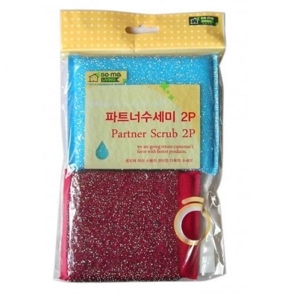 губка - скраббер для мытья посуды myungjin partner scrub 2pPartner Scrub 2P. Губка - скраббер для мытья посуды<br><br>Переплетение нитей из нержавеющей стали и нитей из полиэстера создает прочный скраббер, который позволяет очищать поверхность, не повреждая её. Края губки термически обработаны, что сохраняет форму губки на долгое время.<br><br>Создаёт обильную пену, позволяя экономно расходовать моющее средство.<br><br>Применение: используется для мытья тарелок, посуды, кастрюль. Допускается многоцелевое использование.<br><br>*Может применяться для чистки овощей.<br><br>Внимание при применении: после использования хорошо промойте, выжмите и просушите. Не оставляйте рядом с нагревательными приборами и источниками огня. С осторожностью используйте для чистки поверхностей, которые легко повредить.<br><br>Состав: нержавеющая сталь, полиэстер, плёнка полиэстеровая, губка.<br><br>Количество: 2 шт<br><br>Вес г: 20.00000000