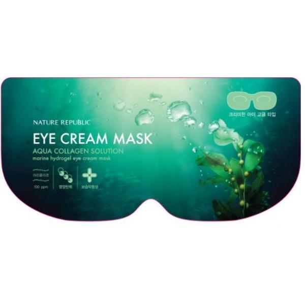 маска гидрогелевая для глаз nature republic aqua collagen solution marine hydrogel eye cream maskМаска содержит ниацинамид, морскую воду, гидролизованный коллаген, экстракт алоэ вера, экстракт ройбуша, аллантоин, масло авокадо и т.д.<br><br>Концентрированная эссенция маски обладает следующими функциями осветление + уход против морщин + увлажнение + эластичность.<br><br>Активизирует физиологические клеточные процессы: метаболизм, регенерацию. Дает мощный импульс для активизации жизненно важных функций кожи, стимулирует микроциркуляцию, уменьшает проницаемость стенок сосудов.<br><br>Экстракт ройбуша содержит железо, магний, фтор, марганец, калий, натрий, кальций, цинк, медь. В составе ройбуша большое количество антиоксидантов, препятствующих негативному воздействию свободных радикалов на клетки организма и предупреждающих повреждение структуры ДНК. Ройбуш также содержит тетрациклин и обладает бактерицидным действием.<br><br>Способ применения: Нанесите маску на очищенную кожу области глаз, плотно прижмите коже и оставьте на 30 минут. После распределите остатки жидкости по коже.<br><br>Вес: 8 г<br><br>Вес г: 8.00000000