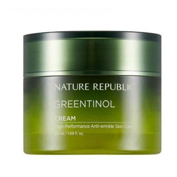 крем увлажняющий против морщин с экстрактом зеленого чая nature republic greentinol creamGreentinol Cream. Крем увлажняющий против морщин с экстрактом зеленого чая<br><br>Крем содержит аденозин. Аденозин- аминокислота, которая формируется в клетках, путем метаболической клеточной энергии. Способствует избавлению от морщин. Оказывает сосудорасширяющее и антиагрегантное действие, улучшает макро- и микроциркуляцию, определяет благоприятное воздействие на трофику тканей и процессы регенерации.<br><br>Входит в состав важнейших коферментов, регулирующих окислительно-восстановительные процессы в клетках. Стимулирует синтез коллагена и эластина в коже, активно используется в косметике как высокоэффективное средство для уменьшения возрастных морщин и разглаживания рельефа кожи.<br><br>Линия обладает регенерационными, увлажняющими, смягчающими, защитными и питательными свойствами. Оказывает реструктуризирующее воздействие на кожу. Придает коже здоровый блеск.<br><br>Дарит коже мягкость, поддерживает оптимальный уровень влаги, способствует созданию защитного барьера. Не содержит парабенов, бензофенона, минерального масла, искусственных красителей, ВНТ.<br><br>Способ применения: Нанесите небольшое количество крема на кожу мягкими, массирующими движениями.<br><br>Объем: 50 мл<br>