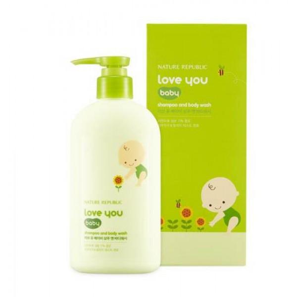 шампунь и гель для душа 2 в 1 nature republic love you baby shampoo &amp; body washLove You Baby Shampoo &amp;amp; Body Wash. Шампунь и гель для душа 2 в 1<br><br>Средство содержит экстракт пророщенных ростков фасоли, глицин пророщенной сои, экстракт рапса, экстракт кунжута, экстракт подсолнечника, аллантоин, масло ши и т.д.<br><br>Детская линия Love You Baby обладает мягкой, гипоаллергенной формулой. Укрепляет защитный барьер, помогает поддержать оптимальный гидро-липидный баланс. &amp;nbsp;<br><br>Линия содержит только натуральные ингредиенты, безопасные для кожи малышей.<br><br>Способ применения: Нанесите небольшое количество средства на влажную кожу головы и мочалку, промассируйте, смойте теплой водой.<br><br>Объем: 310 мл<br>
