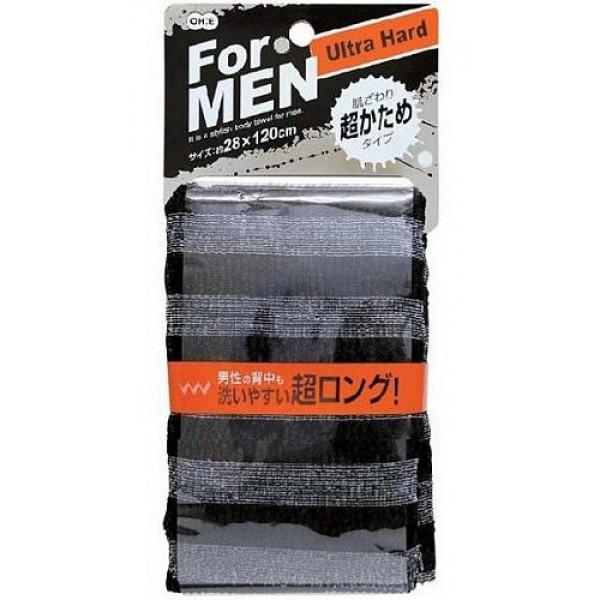 мочалка массажная сверхжесткая  для мужчин o:he men body towel ultra hardMen Body Towel Ultra Hard. Мочалка массажная сверхжесткая&amp;nbsp; для мужчин (черная)<br><br>Специальное объёмное плетение нейлоновых нитей способствует созданию великолепной устойчивой пены, даже с небольшим количеством геля. Мочалка прекрасно массирует тело, обеспечивает улучшение циркуляции крови, что в свою очередь позволяет себя чувствовать бодрым и отдохнувшим после принятия душа или ванны. <br><br>После мытья мочалку необходимо очистить от остатков мыла и высушить.<br><br>Предупреждение: использовать мочалку только для мытья тела; при чувствительной коже тела, а также в случае длительного и интенсивного трения одного и того же участка тела может возникнуть раздражение кожи; в процессе длительного использования размер мочалки и её форма может слегка деформироваться; не использовать для стирки мочалки синтетические моющие средства, отбеливание, машинную стирку и сушку; не сушить мочалку вблизи открытого огня.<br><br>Состав: 100% нейлон<br>