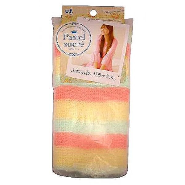 мочалка для тела с добавлением хлопка o:he pastel body towel rainbowPastel Body Towel Rainbow. Мочалка для тела с добавлением хлопка Радуга (мягкая, розовая) прекрасно массирует тело, стимулирует циркуляцию крови, очищает поры. Благодаря гидрофильным свойствам хлопка и объемному плетению нитей, мочалка легко впитывает воду, не становясь при этом слишком мокрой, и образует нежную густую пену. Натуральные волокна снимают статическое электричество, накопившееся на коже, обладают антиаллергенными и бионормализующими свойствами.<br><br>После мытья мочалку необходимо очистить от остатков мыла и высушить.<br><br>Предупреждение: использовать мочалку только для мытья тела; при чувствительной коже тела, а также в случае длительного и интенсивного трения одного и того же участка тела может возникнуть раздражение кожи; в процессе длительного использования размер мочалки и её форма может слегка деформироваться; не использовать для стирки мочалки синтетические моющие средства, отбеливание, машинную стирку и сушку; не сушить мочалку вблизи открытого огня.<br><br>Состав: 70% полиэстер, 30%хлопок<br>