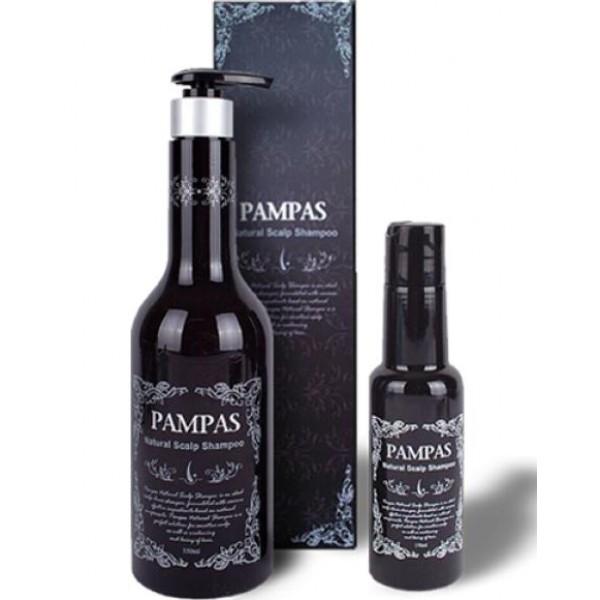 натуральный шампунь для волос pampas natural scalp shampooNatural Scalp Shampoo.&amp;nbsp;Натуральный шампунь для волос<br><br>Натуральный шампунь с широким спектром действия: для укрепления, питания, борьбы с выпадением волос и проблемами кожи головы.<br><br>Высокое содержание эффективнейших натуральных компонентов оказывает укрепляющее действие, предотвращает выпадение волос, а также обеспечивает бережный уход за чувствительной кожей головы.<br><br>Шампунь бережно ухаживает за кожей головы, натуральные компоненты эффективно питают и укрепляют ослабшие волосы, способствуя усиленному росту.<br><br>В результате применения шампуня волосы приобретают здоровье и красоту, становятся блестящими, густыми и крепкими.<br><br>В составе более 10 видов растительных экстрактов: экстракт эспинолиса (растение также называется витаминным, растет в Мексике), экстракт женьшеня, экстракт зеленого чая, земляники, масло жасмина, масло лаванды, экстракт гинго билоба (реликтовое растение, часто называемое живым ископаемым), экстракт сосновой хвои, экстракт черных соевых бобов, экстракт полыни и др.<br><br>Подходит для всех типов волос.<br><br>Способ применения:&amp;nbsp;Нанесите необходимое количество шампуня на мокрые волосы, помассируйте подушечками пальцев, оставьте на 2-3 минуты, затем тщательно смойте. Повторите процедуру при необходимости.<br><br>Объем: 170 мл; 550 мл<br>