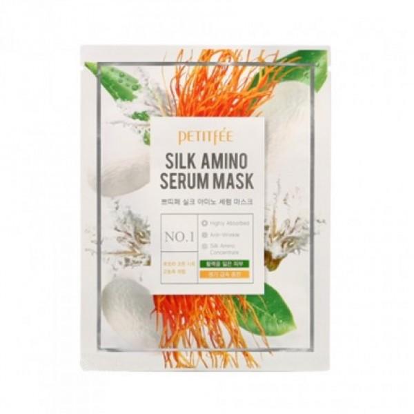 функциональная маска для борьбы с морщинами petitfee silk amino serum maskSilk Amino Serum Mask. Функциональная маска для борьбы с морщинами<br><br>Протеины шелка являются ценным белковым компонентом, содержащим важнейшие для кожи аминокислоты. Маска решает много задач и предназначена для лифтинга и укрепления тургора кожи, улучшения тона лица, выравнивания и разглаживание текстуры кожи. Весь эффект обеспечивается уникальным составом, обогащенным натуральными растительными ингредиентами.<br><br>Продукт высококонцентрированный, находится в индивидуальной упаковке. Регулярное применение маски способствует улучшению обменных процессов в коже, увеличению притока крови к клеткам и повышения упругости. Кожа приобретает естественный здоровый вид, требует меньше декоративной косметики.<br><br>Аминокислоты, содержащиеся в шелковых протеинах способны восстанавливать поврежденные участки и оказывают мощнейший лифтинг эффект. Благодаря малому молекулярному весу и способности проникать в ткани, протеины шелка легко воспринимаются кожей, снабжая её необходимыми питательными веществами и восстанавливая поврежденные участки.<br><br>Кроме того, протеины шелка значительно повышают влагоудерживающие свойства кожи: проникая в эпителий, они мгновенно включаются в процессы метаболизма клеток. В результате их действия, кожа наполняется сиянием, увлажняется, обретает мягкость и эластичность. Протеины шелка образуют на коже особую эластичную структуру, мгновенно подтягивающую каркас кожи. Аминокислоты, содержащиеся в шелковых протеинах, делают кожу сияющей, придают естественный блеск.<br><br>Растительные волокна - ценный растительный ингредиент, оживляющий кожу, придающий ей здоровый цвет. Также имеет эффект лифтинга, улучшает микроциркуляцию в клетках.<br><br>Высококонцентрированная сыворотка создана на основе белка природного происхождения. Это главная питательная составляющая маски, в которой растворены основные ингредиенты – протеины шелка и растительные волокна. Именно она является акт