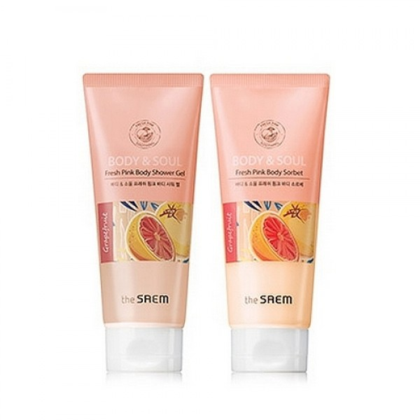 ����� ��� ���� the saem body & soul fresh pink body set 2x200ml