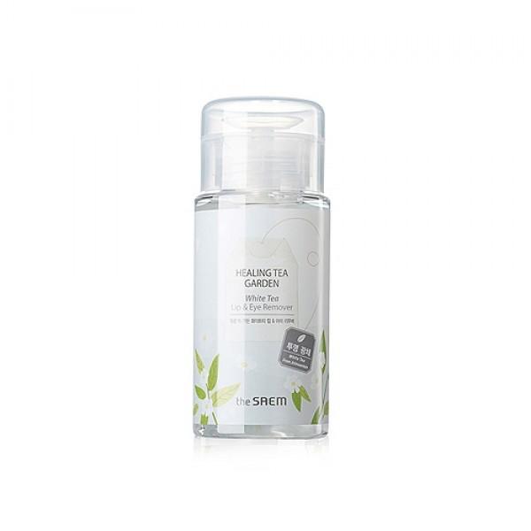 жидкость для снятия макияжа с глаз и губHealing Tea Garden White Tea Lip&amp;amp;Eyes Remover. Жидкость для снятия макияжа с глаз и губ с экстрактом белого чая<br><br>Мягкое, но эффективное очищение кожи от макияжа обеспечивает специальная очищающая вода с экстрактом белого чая.<br><br>&amp;nbsp;<br><br>Белый чай считается уникальным средством, эликсиром вечной молодости. Для производства экстракта белого чая используется самое ценное сырье – 2 самых верхних листочка и почка, сырье подвергается сложной технологической обработке и получается это средство. Средство, в которое добавлен экстракт белого чая, лучше увлажняет кожу, активизирует процесс обновления и восстановления клеток кожи.<br><br>&amp;nbsp;<br><br>Средство предназначено для эффективного удаления любых загрязнений и стойкого макияжа с нежной кожи вокруг глаз и губ. Натуральные гипоаллергенные компоненты тщательно устраняют загрязнения, бережно ухаживают за нежной кожей, делают ее мягкой, упругой, эластичной.<br><br>&amp;nbsp;<br><br>Также в составе ремувера экстракты герани, розмарина, бергамота и др., которые также оказывают общее оздоравливающее воздействие на кожу – увлажняют и успокаивают ее, охлаждают, снимают чувство стянутости и зуда, устраняют покраснения, защищают кожу от агрессивного воздействия окружающей среды.<br><br>&amp;nbsp;<br><br>Способ применения: Смочить средством ватный диск, приложить его к векам, подержать немного, а затем аккуратно удалить макияж. Также снять макияж с губ.<br><br>&amp;nbsp;<br><br>Объём: 150 мл<br>