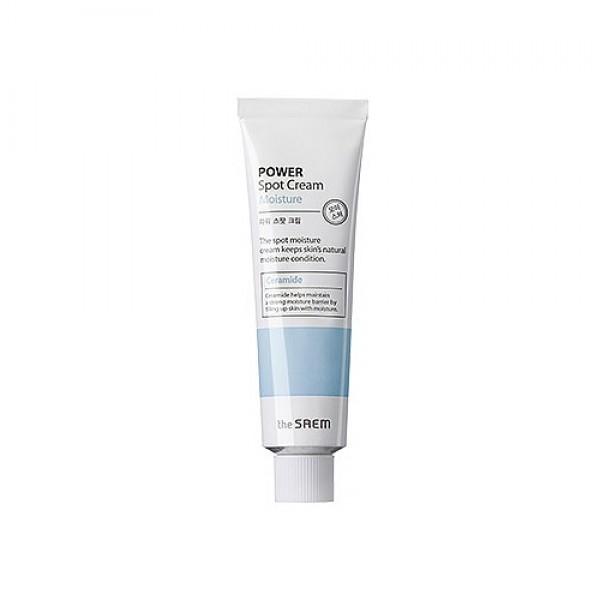 крем увлажняющий точечный the saem power spot cream moisturePower Spot Cream Moisture. Крем увлажняющий&amp;nbsp;точечный<br><br>Новинка от The Saem – точечное средство для локального воздействия на проблемные области. Целенаправленно воздействуя и глубоко проникая в кожу, крем наполняет ее живительной влагой, благодаря чему исчезают сухость и шелушения, разглаживаются кожные заломы, возникающие из-за недостатка влаги. Кроме того, крем повышает защитные функции кожи, что особенно важно для чувствительной.<br><br>&amp;nbsp;<br><br>В составе крема:<br><br><br>Трегалоза – натуральный полисахарид, который обладает способностью защищать белки, препятствуя их высыханию и распаду. Трегалоза оберегает кожу от потери влаги и увлажняет даже самые глубокие слои.<br><br><br><br>Керамиды восстанавливают липидный барьер верхнего слоя эпидермиса сухой и огрубевшей кожи, обеспечивают интенсивное увлажнение. Благодаря керамидам, кожа в короткие сроки восстанавливается, уменьшаются признаки обезвоженности, разглаживаются морщинки. Керамиды снимают шелушения кожи, дарят ей гладкость и шелковистость.<br><br><br>Также в составе крема масла:&amp;nbsp;<br><br><br>оливы, <br><br>бергамота, <br><br>герани, <br><br>лаванды, <br><br>иланг-иланга, <br><br>розмарина, <br><br>чайного дерева, <br><br>шалфея.<br><br><br>Которые увлажняют, питают, смягчают кожу, разглаживают ее и подтягивают, а также обеспечивают антиоксидантную защиту.<br><br>&amp;nbsp;<br><br>Регулярное применение крема позволяет напоить влагой абсолютно все клеточки нашей кожи. Увлажненная изнутри и снаружи кожа вновь обретает упругость и эластичность, ее тон выравнивается, она становится светлее, а лицо – свежее и моложе.<br><br>&amp;nbsp;<br><br>Усилить действие крема поможет ампульная увлажняющая эссенция THE SAEM Power Ampoule Hydra, в составе которой несколько видов гиалуроновой кислоты.<br><br>&amp;nbsp;<br><br>Способ применения: Нанести крем на проблемные зоны легкими массирующими движениями.<br><br>&amp;nbsp;<br><br>Объе
