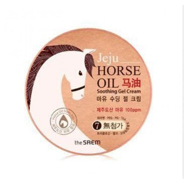 крем-гель на основе конского жира the saem horse oil soothing gel creamHorse Oil Soothing Gel Cream. Крем-гель на основе конского жира - универсальный крем с гелевой текстурой позволяет ухаживать за сухими участками кожи тела. Насыщенный крем, в составе которого натуральный конский жир, подходит для любого типа кожи, но особенно полезен будет для сухой и обезвоженной кожи, кожи склонной к шелушениям, для шершавой и огрубевшей кожи. Крем с конским жиром наполняет кожу необходимыми питательными веществами, увлажняет и смягчает ее.<br><br>Конский жир с давних пор использовался в странах Азии как средство для исцеления кожи, он помогал залечивать раны, ожоги, воспаления. И в наше время конский жир пользуется не меньшей популярностью, он богат жирными кислотами и витаминами, идеально воспринимается кожей человека благодаря схожему структурному составу, поэтому безопасен и гипоаллергенен. По своим питательным свойствам конский жир превосходит многие растительные масла, защищая кожу от обезвоживания, питая и смягчая ее, восстанавливая поврежденные участки кожного покрова.<br><br>Также в составе крема экстракты лекарственных растений, традиционных для Кореи, которые оказывают успокаивающее и противовоспалительное действие, увлажняют и питают кожу и усиливают воздействие конского жира.<br><br>Крем позволяет значительно улучшить состояние кожи, если она сухая и шелушится, утратила упругость и эластичность, появились морщины, а цвет стал тусклым и неравномерным. Регулярное применение крема THE SAEM Horse Oil Soothing Gel Cream поможет восстановить кожу, замедлить процессы старения.<br><br>Применение: Нанести крем на сухую кожу тела легкими массажными движениями.<br>