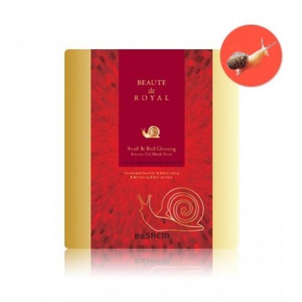 маска гидрогелевая с экстрактом улитки the saem beaute de royal  snail &amp; red ginsengBeaute de Royal&amp;nbsp; Snail &amp;amp; Red Ginseng. Маска гидрогелевая с экстрактом улитки и женьшеня интенсивно омолаживает кожу лица, оказывает расслабляющее и разглаживающее действие. Экстракт муцина улитки обладает уникальной способностью визуально сглаживать морщины, будто бы заполняя их изнутри, и смягчать линии кожных заломов. Являясь мощным антиоксидантом, защищает клетки от разрушения и преждевременного старения; восстанавливает и улучшает микроциркуляцию, укрепляет стенки капилляров; выравнивает цвет лица и рассасывает застойные пятна; восстанавливает качество коллагеновых и эластиновых волокон кожи. Обладает тонизирующей активностью, регулирует водно-солевой и белковый баланс кожи, оказывает заживляющее и бактерицидное действие, оказывает расслабляющее и разглаживающее действие.<br><br>Применение: Очистите кожу тоником, достаньте маску из упаковки и приложите к коже. Оставьте на 20-40 минут. Распределите оставшуюся жидкость по коже мягкими похлопывающими движениями.<br><br>Дата изготовления (срок годности) указана на упаковке<br><br>Вес г: 28.00000000
