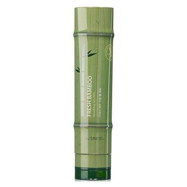 гель для тела с экстрактом бамбука the saem fresh bamboo soothing gel 99%Fresh Bamboo Soothing Gel 99%. Гель для тела с экстрактом бамбука универсальный.<br><br>Бамбук – самая удивительная в мире трава: самая высокая, самая крепкая на земном шаре. Эта родственница пшеницы, кукурузы и других злаковых обладает уникальными свойствами.<br><br>&amp;nbsp;<br><br>Химический состав экстракта бамбука богат и разнообразен. Так, например, он содержит высокую концентрацию природного кремния, который эффективно борется с возрастными изменениями кожи: восстанавливает эластичность и упругость эластановых и коллагеновых волокон, структуру соединительной ткани.<br><br>&amp;nbsp;<br><br>Благодаря своему необыкновенному химическому составу, бамбук применяется для ухода за кожей, как лица, так и тела. Косметика на его основе укрепляет и тонизирует кожу, насыщая ее минералами, и при этом оказывает выраженный матирующий эффект, используется как средство против морщин, для ухода за уставшей кожей.<br><br>&amp;nbsp;<br><br>Для кожи тела экстракт бамбука оказывает не менее полезное воздействие: борется с апельсиновой коркой, используется как укрепляющее и тонизирующее средство для моделирования фигуры, в продукции для похудения и восстановления кожи после беременности.<br><br>&amp;nbsp;<br><br>Универсальный успокаивающий гель, в составе которого 99% экстракта свежесобранного бамбука обеспечивает мгновенное насыщение клеток кожи живительной влагой, успокаивает и одновременно освежает кожу, разглаживает мелкие морщинки, защищает эластин кожи от разрушения, укрепляет иммунную способность к агрессивным факторам окружающей среды.<br><br>&amp;nbsp;<br><br>Способ применения: Нанести гель на чистую кожу лица или тела и распределить мягкими похлопывающими движениями.<br><br>&amp;nbsp;<br><br>Объём: 260 мл<br>