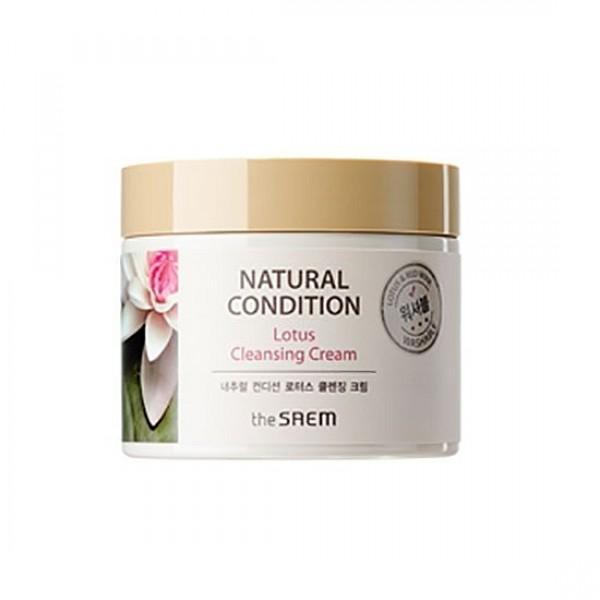 крем очищающий лотос the saem natural condition lotus cleansing creamNatural Condition Lotus Cleansing Cream. Крем очищающий лотос&amp;nbsp;- нежный крем с тающей текстурой великолепно очищает кожу лица от загрязнений и макияжа, удаляет с поверхности кожи ороговевшие клетки, а из пор вытягивает скопившийся кожный жир. <br><br>Основной действующий компонент очищающего крема – экстракт лотоса. Лотос – прекрасный цветок, который с давних времен известен в восточной медицине и косметологии как ценнейший ингредиент для различных снадобий. Знатные красавицы древнего Китая готовы были расставаться с целыми состояниями, чтобы заполучить снадобья на основе лотоса. Полезные свойства этого цветка обусловлены содержанием флавоноидов, алкалоидов и лейкоантоцианидинов, дубильных веществ, смол, витамина С и других полезных компонентов. Благодаря такому составу, лотос оказывает очищающее, смягчающее, интенсивно увлажняющее и успокаивающее действие, укрепляет клетки кожи, способствует отбеливанию кожи. <br><br>Лотос - сильный антиоксидант, защищает клетки кожи от повреждений УФ-излучением и свободными радикалами. Экстракт лотоса также обладает очень хорошим противовоспалительным действием, полезен для поврежденной и раздраженной кожи. <br><br>Также в составе очищающего крема: <br><br>Ниацинамид (витамин B3) – обладает осветляющей способностью, снижает следы гиперпигментации: осветляет темные участки кожи, уменьшает покраснения и следы пост-акне. Кроме того, ниацинамид запускает мощное клеточное обновление, стимулирует синтез коллагена, восстанавливает барьерную функцию кожи и уменьшает потерю влаги, улучшает эластичность, уменьшает видимые проявления старения. <br><br>Экстракт вина – содержит аминокислоты и органические соединения, богат микроэлементами и витаминами, флавонидами и полифенолами. Оказывает антиоксидантное действие, стимулирует синтез коллагена, защищает кожу от раннего старения, укрепляет кровеносные сосуды, уменьшает раздражения и воспаления на коже, тонизирует, сним