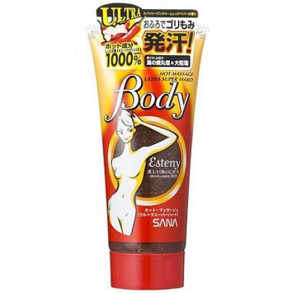 массажный гель-скраб для тела с морской солью sana esteny hot massage body ultra super hardEsteny Hot Massage Body Ultra Super Hard. Массажный гель-скраб для тела с морской солью содержит на 1000% больше разогревающих компонентов, чем предыдущие косметические продукты серии! Обладает усиленным разогревающим эффектом, улучшает кровообращение. Великолепно подтягивает и выравнивает рельеф проблемных участков кожи, устраняя эффект апельсиновой корки.<br><br>Активные компоненты: <br><br><br>Экстракт красного перца оказывает согревающее действие на кожу, создаёт эффект жжения, благодаря чему усиливается микроциркуляция крови, улучшается обмен веществ.<br><br>Морская соль активизирует жировой обмен, обеспечивает глубокое очищение кожи, стимулирует обменные процессы. Экстракт водорослей и минералов усиливает кровообращение, способствует выведению шлаков из организма. Высокая концентрация йода дезинфицирует, очищает кожу, способствует регуляции веса.<br><br>Экстракт имбиря активизирует функцию потоотделения и выведения шлаков, обладает антиоксидантным действием, тонизирует кожу.<br><br>Мед смягчает кожу, улучшает тургор, восстанавливает эластичность мышечных волокон, легко проникает в поры кожи, питает ее и регулирует водный баланс, активизирует обменные процессы в тканях, поддерживает кожу в свежем состоянии. <br><br><br>Обладает пряным ароматом имбиря.<br><br>Способ применения: выдавите необходимое количество средства на ладонь и распределите на увлажненную кожу.<br>Легкими спиралеобразными движениями выполните массаж, затем смойте средство. Принятие ванны способствует активизации кровотока и повышению эффективности средства.<br><br>Меры предосторожности: не использовать при появлении покраснений, зуда, раздражения кожи. При попадании в глаза, на слизистые и другие чувствительные участки сразу же промыть водой. В случае возникновения аллергических реакций, прекратите использование средства и проконсультируйтесь с дерматологом.<br><br>Состав: глицерин, сульфат натрия, BG, д