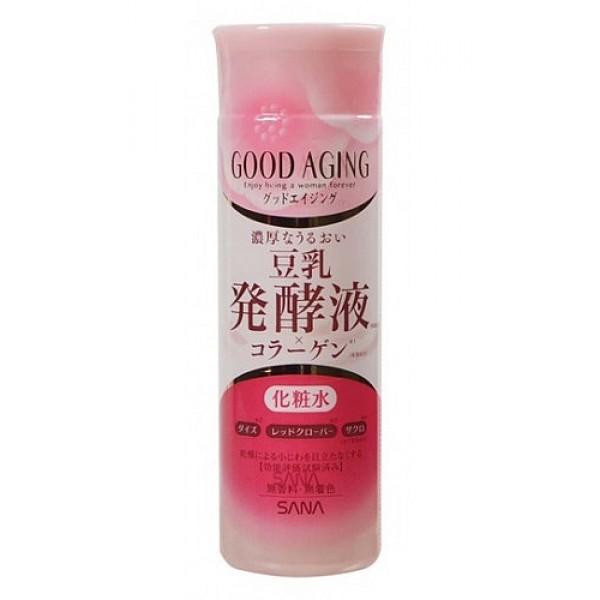 лосьон подтягивающий для зрелой кожи sana good aging lotionGood Aging Lotion. Лосьон увлажняющий и подтягивающий для зрелой кожи идеально подходит для женщин старше 50 лет. Интенсивно увлажняет и питает кожу, заметно разглаживает морщины, уменьшает пигментные пятна и позволяет коже выглядеть молодой и отдохнувшей.<br>&amp;nbsp;<br>Активные компоненты:<br><br><br>&amp;nbsp;&amp;nbsp;&amp;nbsp; Изофлавоны, полученные из соевых бобов и красного клевера - это натуральные фитоэстрогены. Эффективно улучшают состояние кожи, придают ей ровный цвет и сияющий вид, делают упругой и гладкой, уменьшают глубину морщин. Способствуют удержанию влаги в коже.<br><br>&amp;nbsp;&amp;nbsp;&amp;nbsp; Экстракт граната благодаря содержанию мощного антиоксиданта - эллаговой кислоты -&amp;nbsp; разглаживает морщины и препятствует преждевременному старению кожи. Увлажняет сухую, уставшую и потерявшую свой здоровый цвет кожу, питает ее, смягчает и придает эластичность.<br><br>&amp;nbsp;&amp;nbsp;&amp;nbsp; Коллаген и гиалуроновая кислота увлажняют и придают коже упругость.<br><br>&amp;nbsp;&amp;nbsp;&amp;nbsp; Церамиды сохраняют баланс влаги в эпидермисе, препятствуют фотостарению и возникновению мелких морщин; выравнивают цвет лица; повышают эластичность, тонус и упругость кожи.<br><br><br>Не содержит консервантов, красителей и отдушек.<br><br>Способ применения: нанесите на очищенную кожу лица после умывания. Используйте утром и вечером.<br>*Для достижения лучшего результата используйте в сочетании с увлажняющим и подтягивающим кремом линии GOOD AGING.<br>&amp;nbsp;<br>Внимание при применении: при покраснении, зуде, раздражении после применения прекратите использование средства и проконсультируйтесь с врачом-дерматологом. Не храните в местах повышенных/пониженных температур, избегайте попадания прямых солнечных лучей.<br><br>Состав: вода, глицерин, BG, ферментированное соевое молоко, экстракт соевых бобов, экстракт плодов граната, экстракт клевера полевого, гидрогенизированный коллаген, гиалу