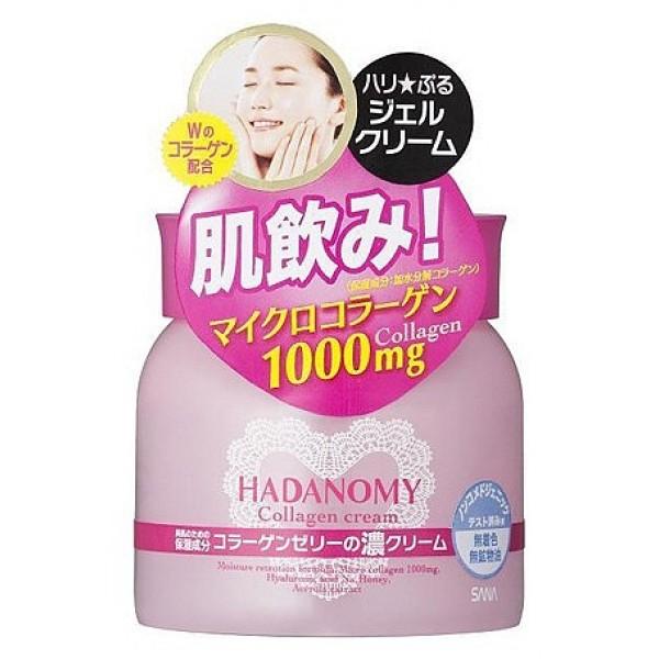 крем ночной для лица с коллагеном sana hadanomy collagen creamHadanomy Collagen Cream. Крем для лица с коллагеном и гиалуроновой кислотой - ночной крем-гель с микроколлагеном возвратит Вашей коже упругость и эластичность, а также обеспечит глубокое увлажнение!<br><br>Активные компоненты:<br><br><br>Микроколлаген проникая в глубокие слои кожи, повышает ее влагоудерживающие свойства, разглаживает мелкие морщинки и неровности, обеспечивает легкий лифтинг кожи и восстанавливает ее упругость.<br><br>Гиалуроновая кислота прекрасно удерживает влагу в коже, препятствуя ее потере через верхний слой клеток эпидермиса. После применения косметики с гиалуроновой кислотой кожа выглядит более мягкой, гладкой и нежной.<br><br>Мед оказывает благоприятное действие на кожу лица: смягчает, устраняет сухость и шелушение, повышает тонус, делает ее свежей и бархатистой.<br><br>Экстракт барбадосской вишни (ацеролы) содержит большое количество витамина С, минеральных солей, протеинов. Антиоксидант. Обладает увлажняющим действием.<br><br>Масло фенхеля является сильным антиоксидантом. Фенхель замедляет процессы старения клеток и оказывает мощное омолаживающее воздействие на кожу, разглаживая мелкие морщинки и повышая эластичность верхних слоёв эпидермиса.<br><br><br>&amp;nbsp;<br><br>Используйте перед сном для красоты Вашей кожи на следующий день!<br>Гипоаллергенный продукт. Аромат создают входящие в состав натуральные масла.<br><br>Способ применения: рекомендуется использовать после лосьона. Нанесите на очищенную кожу лица необходимое количество средства кончиками пальцев и равномерно распределите.<br><br>Меры предосторожности: не использовать при появлении покраснений, зуда, раздражения кожи. В случае возникновения аллергических реакций, прекратите использование средства и проконсультируйтесь с дерматологом.<br><br>Состав: вода, BG, глицерин, коллаген, гидролизованный коллаген, гиалуроновая кислота, экстракт барбадосской вишни, мед, полимеры, масло фенхеля, апельсиновое масло, карбомеры, ли