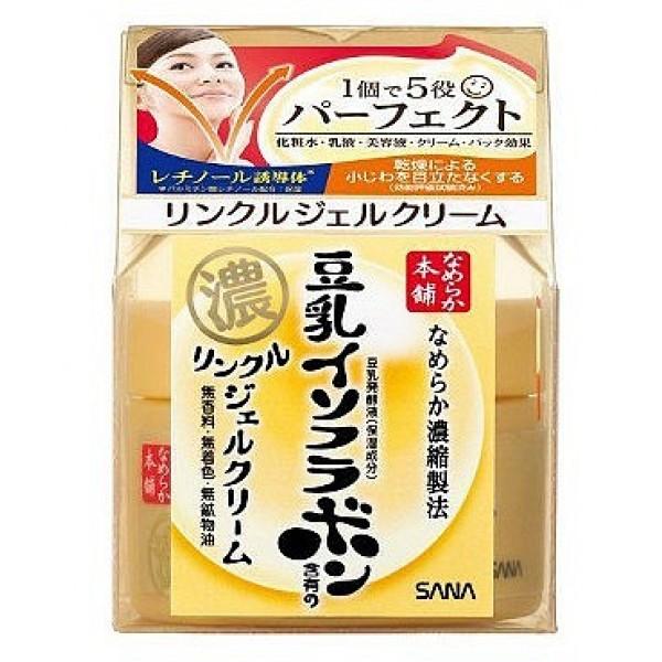 подтягивающий крем-гель с изофлавонами сои sana soy milk haritsuya wrinkle gel creamSoy Milk Haritsuya Wrinkle Gel Cream. Увлажняющий и подтягивающий крем-гель с ретинолом и изофлавонами сои представляет собой универсальное средство 5 в 1. Заменяет целую линейку средств по уходу за лицом: лосьон, молочко, эссенцию, крем, косметическую маску.<br><br>Предотвращает образование морщин. Ретинол, входящий в состав крема, стимулирует обновление клеток кожи и синтез коллагена. В результате разглаживаются мелкие морщинки, кожа становится гладкой.<br><br>Крем глубоко увлажняет, повышает естественные упругость и эластичность кожи за счёт действия полученных из соевых бобов увлажняющих компонентов:<br><br><br>&amp;nbsp;&amp;nbsp;&amp;nbsp; изофлавоны, полученные из соевых бобов;<br><br>&amp;nbsp;&amp;nbsp;&amp;nbsp; изофлавоны, полученные из ферментированного соевого молока;<br><br>&amp;nbsp;&amp;nbsp;&amp;nbsp; экстракт соевых бобов;<br><br>&amp;nbsp;&amp;nbsp;&amp;nbsp; растительный коллаген, полученный из соевого белка.<br><br><br>При использовании перед сном крем создаёт так называемый эффект маски, удерживая влагу в клетках кожи в течение всей ночи. Утром кожа глубоко увлажнённая, упругая и эластичная.<br>Не содержит парфюмерных отдушек, искусственных красителей и минеральных масел.<br><br>Способ применения: нанесите на очищенную кожу лица после умывания либо после применения лосьона и молочка. Используйте крем утром и вечером.<br><br>Внимание при применении: При покраснении, зуде, раздражении после применения прекратите использование средства и проконсультируйтесь с врачом-дерматологом. Не храните в местах повышенных/пониженных температур, избегайте попадания прямых солнечных лучей.<br><br>Состав: вода, глицерин, бутиленгликоль, циклопентасилоксан, цетиловый этилгексаноат, стеарат гидрогенизированного касторового масла, ферментированное соевое молоко, экстракт соевых бобов, соевый белок, ретинилпальмитат, церамид 2, (винил диметикон/метикон силсесквиоксан) кроссполимер, P