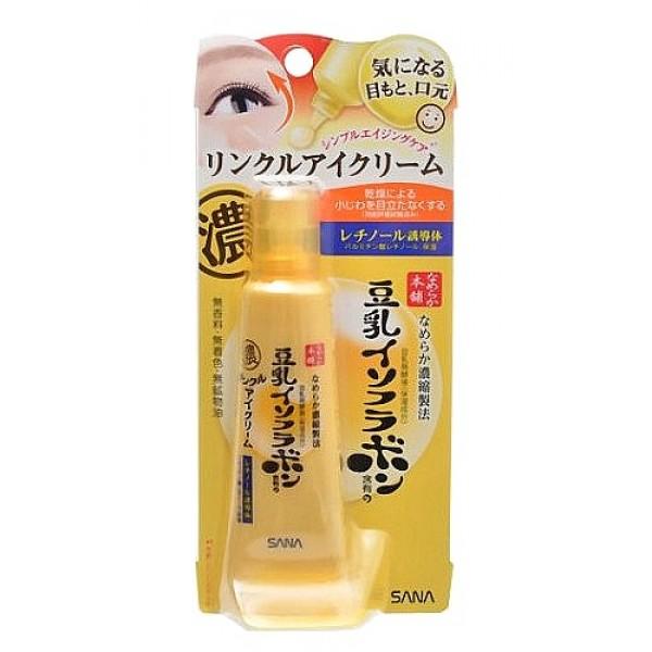 крем - эссенция подтягивающий с ретинолом sana wrinkle eye creamWrinkle Eye Cream. Крем - эссенция увлажняющий и подтягивающий с ретинолом и изофлавонами сои предназначена для ухода за областью вокруг глаз, губ и другими проблемными зонами (носогубные складки, сухие участки кожи). Глубоко проникает, насыщает кожу влагой и делает ее упругой. Предотвращает появление морщин и старение кожи.<br><br>Ретинол, входящий в состав эссенции, стимулирует обновление клеток кожи и синтез коллагена. В результате разглаживаются мелкие морщинки, кожа становится гладкой.<br>Эссенция глубоко увлажняет, смягчает, повышает естественные упругость и эластичность кожи благодаря действию 5-ти увлажняющих компонентов:<br><br><br>&amp;nbsp;&amp;nbsp;&amp;nbsp; изофлавоны, полученные из соевых бобов;<br><br>&amp;nbsp;&amp;nbsp;&amp;nbsp; изофлавоны, полученные из ферментированного соевого молока;<br><br>&amp;nbsp;&amp;nbsp;&amp;nbsp; экстракт соевых бобов;<br><br>&amp;nbsp;&amp;nbsp;&amp;nbsp; растительный коллаген, полученный из соевого белка;<br><br>&amp;nbsp;&amp;nbsp;&amp;nbsp; церамиды 2.<br><br><br><br>Не содержит парфюмерных отдушек, искусственных красителей и минеральных масел. Изготовлена из немодифицированных соевых бобов.<br><br>Способ применения: на завершающем этапе ухода за кожей выдавить небольшое количество средства на кончик пальца и мягко нанести на область вокруг глаз, губ и другие проблемные участки. Рекомендуется использовать утром и вечером.<br><br>Меры предосторожности: при покраснении, зуде, раздражении после применения прекратите использование средства и проконсультируйтесь с врачом-дерматологом. Не храните в местах повышенных/пониженных температур, избегайте попадания прямых солнечных лучей.<br><br>Состав: вода, бутиленгликоль, глицерин, сквалан, октилдодецил миристат, бутиловый спирт, тетра (гидроксистеарат/ изостеарат) дипентаэритрит, стеарат, полиглицерил-10 дистеарат, глицерил стеарат, бегениловый спирт, диметикон, ферментированное соевое молоко, экстракт соевых б