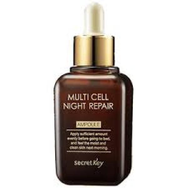 сыворотка для лица ночная восстанавливающая secret key multi cell night repair ampouleMulti Cell Night Repair Ampoule&amp;nbsp;Сыворотка для лица ночная восстанавливающая для тех, кому уже больше 30 лет, поможет справиться с ранним старением кожи.<br><br>Ночная сыворотка на фитостволовых клетках дарит коже длительную молодость: разглаживает морщины, ускоряет рост новых клеток, защищает от вредного воздействия окружающей среды. Сыворотка помогает вашей коже в ночное время справиться с дневной усталостью и стрессами. Активные компоненты сыворотки ускоряют обменные процессы в коже, осветляют её и делают гладкой, нежной, сияющей.<br><br>Активные компоненты:<br><br><br>Стволовые клетки винограда – натуральный антиоксидант, защищает клетки кожи от вредного воздействия свободных радикалов, помогает восстановлению и обновлению клеток кожи.<br><br>Стволовые клетки томатов – оказывают стимулирующие действие на синтез коллагена, защищают ДНК клеток кожи от воздействия тяжелых металлов.<br><br>Стволовые клетки зеленого чая – стимулируют иммунитет клеток, защищают от бактерий, вирусов и прочих патогенов, устраняют воспаления кожи. Мощный антиоксидант, защищают ДНК клеток, помогают синтезу коллагена.<br><br>Аденозин – делает кожу упругой и эластичной, тонизирует её, разглаживает морщины.<br><br>Биолизат (фермент бифидобактерии) – устраняет дряблость и тусклость кожи, уменьшает морщины, делает кожу эластичной и упругой. Защищает кожу от потери влаги, а также от негативного воздействия внешней среды.<br><br>Арбутин – оказывает осветляющее действие на кожу, отбеливает веснушки, устраняет покраснения.<br><br>Ниацинамид – стимулирует синтез коллагена, увлажняет кожу, разглаживает морщинки, сужает поры, выравнивает тон лица, уменьшает размер и интенсивность пигментных пятен.<br><br><br>Способ применения: в вечернее время нанести на очищенную кожу, дать впитаться.<br>