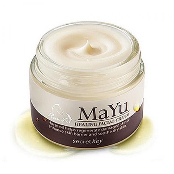 крем для лица питательный secret key mayu healing facial creamMayu Healing Facial Cream. Крем для лица питательный<br><br>Молодая и здоровая кожа выглядит просто изумительно, и эти свойства кожи хочется сохранить как можно дольше. Но, к сожалению, годы, питание, агрессивное воздействие окружающей среды и многие другие причины ведут к тому, что кожа начинает увядать, появляются морщины, теряется эластичность. Но если вовремя откликнуться на возрастные изменения, можно существенно замедлить процессы старения.<br><br>&amp;nbsp;<br><br>Крем для лица лечебный восстанавливающий SECRET KEY Mayu Healing Facial Cream позволяет значительно улучшить состояние кожи лица. Он рекомендуется для применения, если:<br><br><br>возникает сухость и шелушения кожи;<br><br>кожа лица утратила эластичность и упругость;<br><br>появляются морщины;<br><br>овал лица теряет четкие контуры;<br><br>цвет лица становится тусклым, а тон неравномерным.<br><br><br>&amp;nbsp;<br><br>Крем от Secret Key с высоким содержанием омолаживающих и растительных компонентов идеально подойдет коже, которая нуждается в дополнительном уходе, повреждена или обладает признаками старения и сухости. Крем питает, восстанавливает, интенсивно увлажняет и успокаивает кожу любого типа, особенно чувствительную.<br><br>&amp;nbsp;<br><br>Экстракт конского жира – издавна использовался в странах Азии для лечения кожных покровов, спасал от ожогов, ран, воспалений. В настоящее время конский жир – ценный компонент во многих кремах, благодаря наличию жирных кислот и витаминов. По своим свойствам он превосходит многие растительные масла, при этом идеально воспринимается кожей человека, безопасен и гипоаллергенен. Препятствует обезвоживанию кожи, интенсивно питает и смягчает, восстанавливает поврежденные участки кожи.<br><br>&amp;nbsp;<br><br>Гиалуроновая кислота – обладает мощными увлажняющими свойствами, проникает даже в самые глубокие слои кожи и наполняет ее изнутри, благодаря чему кожа разглаживается, исчезают поверхностные морщинк