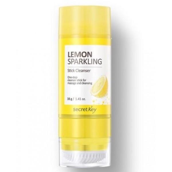 очищающий стик secret key lemon sparkling stick cleanserLemon Sparkling Stick Cleanser.&amp;nbsp;Очищающий стик<br><br>Средство 7 в 1! Очищающий бальзам, очищающее масло, пенка для умывания, средство для демакияжа, щеточка для очищения пор, массажер, осветляющая маска.<br><br>Благодаря такому средству буквально за несколько минут можно удалить макияж (даже самый стойкий), очистить поверхность кожи от загрязнений, удалить из пор сальные пробки, провести массаж лица, а при регулярном применении средства – осветлить пигментацию и выровнять цвет лица.<br><br>При нанесении на кожу тающий бальзам превращается в очищающее масло, а затем в пенку. Стик растворяет косметику, способствует отшелушиванию омертвевших частиц эпидермиса, растворяет сальные пробки в порах, смывает с поверхности кожи кожный жир и повседневные загрязнения.<br><br>В составе средства высокое содержание натуральных компонентов.<br><br>Масло семян подсолнечника растворяет макияж, оказывает великолепное увлажняющее и смягчающее действие, делает кожу более эластичной, защищает от агрессивного воздействия ультрафиолета, а также способствуют регенерации новых клеток.<br><br>Газированная вода насыщает кожу полезными микро и макро-элементами, благодаря чему нормализуются и ускоряются многие жизненно важные процессы: улучшает микроциркуляцию крови, стимулирует регенерацию клеток кожи, выводит токсины и шлаки.<br><br>Экстракт лимона – оказывает антибактериальное, антисептическое, вяжущее и тонизирующее действие, укрепляет стенки сосудов и сужает поры, ускоряет заживление акне и предупреждает появление новых. Как и все цитрусовые, экстракт лимона способствует выравниванию тона кожи и осветлению пигментации, а также разглаживает морщинки, снимает отечность и освежает кожу, делает ее отдохнувшей.<br><br>Способ применения: Выкрутить немного средства, нанести на сухое лицо, помассировать щеточкой, затем ополоснуть лицо водой.<br><br>Вес: 38 г<br><br>Вес г: 38.00000000