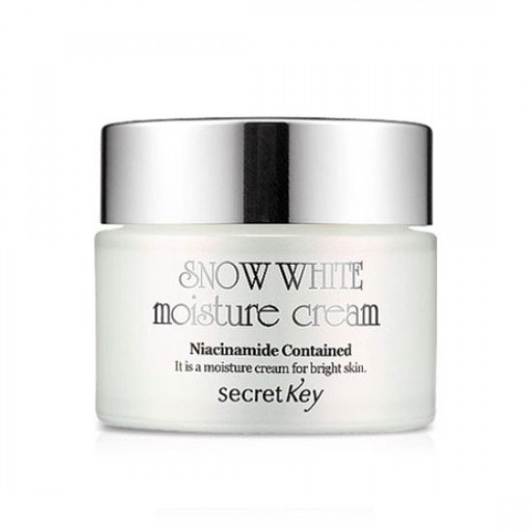 крем для лица увлажнение отбеливание secret key snow white moisture creamSnow White Moisture Cream.&amp;nbsp;Крем для лица увлажнение отбеливание&amp;nbsp;включает большие концентрации активных компонентов, которые угнетают синтез меланина. Понижает излишки кожной пигментации, исключает появление обширных, локальных пигментных пятен, выравнивает цвет лица. Благодаря отлично сбалансированной формуле, устраняются повреждения, осуществляется питание, увлажнение, улучшение общего состояния кожи.<br><br><br>В линии содержится:<br><br>- экстракт грейпфрута;<br><br>- экстракт анютиных глазок;<br><br>- каллусный экстракт винограда;<br><br>- гиалуроновая кислота;<br><br>- экстракт конского каштана;<br><br>- ниацинамид;<br><br>- экстракт жемчужного порошка;<br><br>- глутатион и прочие вещества.<br><br><br>&amp;nbsp;<br><br>Благодаря глутатиону, в клетке нормализуются окислительно-восстановительные процессы, оказываядепигментирующее, детоксицирующее действие.&amp;nbsp;<br><br>&amp;nbsp;<br><br>Пептид представляет собой незаменимое средство при лечении хлоазмы, мелазмы, а также прочих видов гиперпигментации.&amp;nbsp;<br><br>&amp;nbsp;<br><br>За счёт экстракта жемчуга поддерживается уровень влаги кожи, предотвращая её сухость. Его кристаллическое строение способствует отражению УФ радиации. В экстракте имеются минералы, натуральные вещества, которые уникально сочетаются между собой, придавая кожи эластичность, мягкость, нежность. Способствует предотвращению пигментации кожи, притормаживая развитие меланина, контролирующего пигменты цвета кожи. Практически на сто процентов жемчуг состоит из ряда минеральных солей. Он выравнивает рельеф кожи, улучшает цвет, повышает кровообращение.&amp;nbsp;<br><br>&amp;nbsp;<br><br>Ниацинамид представляет собой активный компонент, осуществляющий мощное клеточное обновление кожи. Состоит в группе клеточно-связующих активов. Способствует улучшению эластичности, барьерной функции, тонуса, текстуры кожи, удаляет возрастные пятна, выравнивая и осветл