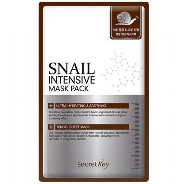 маска для лица тканевая с муцином улитки secret key snail intensive mask packSnail Intensive Mask Pack. Маска для лица тканевая с муцином улитки<br><br>Улиточный секрет, который производит улитка для лечения и регенерации своего поврежденного тельца, является мощным восстанавливающим и омолаживающим компонентом, благодаря чему завоевал небывалую популярность.<br><br>Благодаря современным технологиям, добывается улиточный секрет без вреда для самих улиток, бережно и аккуратно обрабатывается и используется в составе многих косметических средств. Подходит для кожи любого типа, особенно рекомендуется для сухой и поврежденной, идеально воспринимается даже самой чувствительной кожей.<br><br>Секрет улитки в короткие сроки восстанавливает поврежденную кожу, оказывает мощное обновляющее действие на клеточном уровне, способствуя синтезу новых соединительных тканей, интенсивно увлажняя кожу и защищая ее от преждевременного старения. Еще одно уникальное свойство улиточной слизи – способность обеззараживать поверхность кожи, «склеивая» между собой бактерии и нейтрализуя их жизнеспособность и проникновение в кожу.<br><br>Маска мгновенно успокаивает и увлажняет кожу, снимает раздражения и покраснения, ускоряет заживление воспалений и предупреждает появление новых, способствует разглаживанию морщин и осветлению пигментации.<br><br>Также в составе маски экстракты гамамелиса, ромашки, розмарина, центеллы, зеленого чая, а также гиалуроновая кислота, которые усиливают действие маски.<br><br>Способ применения: На чистую сухую кожу приложить маску и разгладить ее. Через 15-20 минут маску снять, остатки эссенции мягко вмассировать.<br><br>Вес: 20 г<br><br>Вес г: 20.00000000