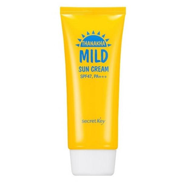 крем мягкий солнцезащитный secret key thanakha mild sun cream spf47 pa+++Thanakha Mild Sun Cream SPF47 PA+++.&amp;nbsp;Крем мягкий солнцезащитный<br><br>Содержит оксид цинка, ниацинамид, масло камелии, экстракт дрожжей, экстракт танаки, березовый сок, ледниковую воду, аденозин и т.д.<br><br>Неорганический солнцезащитный фильтр мягко воздействует на кожу, создает защитный барьер, не перегружая ее. Уменьшает возможность появления раздражения у слабой, чувствительной, а так же детской кожи.<br><br>Не создает белесого оттенка на поверхности эпидермиса! Для семейного использования.<br><br>Экстракт танаки богат танинами. создает охлаждающий эффект, сохраняет эластичность пор, способствует смягчению кожи.<br><br>Способ применения: Нанесите крем на последнем шаге базового ухода.<br><br>Вес: 100 г<br><br>Вес г: 100.00000000