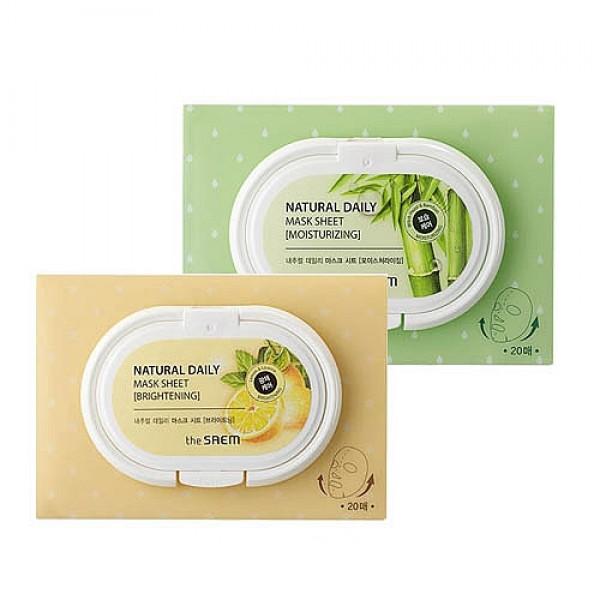 маски тканевые набор 20 шт увлажняющие и осветляющиеNatural Daily Mask Sheet. Маски тканевые набор 20 шт увлажняющие и осветляющие<br><br>1) Набор тканевых увлажняющих масок<br><br>&amp;nbsp;<br><br>Удобная упаковка, содержащая 20 ежедневных тканевых масок, предназначенных для сухой и чувствительной кожи.<br><br>&amp;nbsp;<br><br>Маски обеспечивают глубокое увлажнение кожи, поддерживают ее гидробаланс на оптимальном уровне, устраняют шелушения, способствуют разглаживанию кожных заломов, вызванных обезвоженностью.<br><br>&amp;nbsp;<br><br>В составе эссенции, которой пропитаны маски, экстракт бамбука, гиалуроновая кислота, витамин E, а также комплекс растительных экстрактов (портулак огородный, алоэ вера, гамамелис).<br><br>&amp;nbsp;<br><br>Экстракт бамбука содержит большое количество природного кремния, благодаря которому эффективно борется с возрастными изменениями кожи: восстанавливает эластичность и упругость эластановых и коллагеновых волокон, структуру соединительной ткани.<br><br>&amp;nbsp;<br><br>Маски с экстрактом бамбука увлажняют, освежают и тонизируют кожу, способствуют разглаживанию мелких морщин, а также защищают эластин кожи от разрушения, укрепляют сопротивляемость агрессивным факторам окружающей среды.<br><br>&amp;nbsp;<br><br>2) Набор тканевых осветляющих масок<br><br>Удобная упаковка, содержащая 20 ежедневных тканевых масок, предназначенных для тусклой кожи. Маски помогут выровнять тон кожи, сделать ее свежей и сияющей.<br><br>&amp;nbsp;<br><br>Кроме того, маски великолепно увлажняют и успокаивают кожу, снимают покраснения.<br><br>&amp;nbsp;<br><br>В составе эссенции, которой пропитаны маски, экстракт лимона, гиалуроновая кислота, витамин E, а также комплекс растительных экстрактов (портулак огородный, алоэ вера, зеленый чай, листья чайного дерева, солодка).<br><br>&amp;nbsp;<br><br>Экстракт лимона – многофункциональный компонент, помогает разгладить мелкие морщинки, осветлить веснушки, пигментные пятна, сосудистый рисунок. Оказывает противовоспали