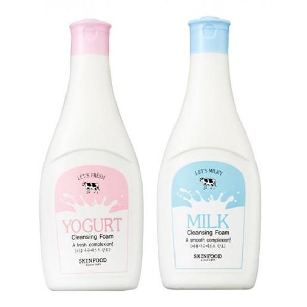 пенка для умывания skin food  cleansing foamCleansing Foam. Пенка для умывания<br><br>О пользе молочных продуктов и их благотворном воздействии на кожу известно уже много веков. В настоящее время, не смотря на обилие различных средств для ухода за кожей, молочная косметика не теряет своей популярности. И не удивительно, ведь молочные продукты – натуральный компонент, естественный для нашей кожи, поэтому очень хорошо ей воспринимается.<br><br>Skinfood предлагает 2 молочные пенки: с молочнми протеинами и йогуртом. Пенки хорошо очищают кожу от повседневных загрязнений, омертвевших клеток и излишков кожного жира. Их регулярное применение позволяет сделать кожу лица более гладкой, бархатистой и упругой, разгладить сеточку морщин и сделать лицо более свежим и сияющим.<br><br>По консистенции похожи на нежные взбитые сливки, а по текстуре напоминающие легкий воздушный крем, предназначены для очищения особо чувствительной кожи лица.<br><br><br>01. SKINFOOD Milky Milk Cleansing Foam&amp;nbsp;– пенка для умывания с молочными протеинами<br><br><br>Молочные протеины обладают мощными регенерирующими, увлажняющими, смягчающими, а также антиаллергенными свойствами. Они способствуют обновлению эпидермиса, стимулируют рост молодых клеток, а также активируют синтез коллагена. Кроме того, молочные протеины оказывают разрушающее воздействие на различные бактерии и микробы, благодаря чему улучшается состояние проблемной кожи.<br><br><br>&amp;nbsp;02. SKINFOOD Fresh Yogurt Cleansing Foam – пенка для умывания йогуртовая<br><br><br>Йогурт – источник бифидобактерий, витаминов, аминокслот, которые, благодаря хорошей усвояемости достигают каждой клетки и благотворно влияют на внешний вид кожи. Йогурт обладает прекрасными питательными свойствами, увлажняет и повышает содержание влаги в подкожных слоях, способствует очищению пор, запускает процессы восстановления кожи, усиливает энергетические процессы в клетках и создает защитный барьер, препятствующий вредному влиянию факторов внешней среды.<b