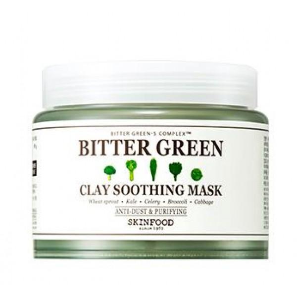 маска для лица глиняная успокаивающая skin food  bitter green clay soothing maskBitter Green Clay Soothing Mask.&amp;nbsp;Маска для лица глиняная успокаивающая<br><br>Успокаивающая и увлажняющая маска с глиной помогает очистить кожу от остатков косметики, кожного жира, ороговевших частиц эпидермиса, удаляет пыль и другие загрязнения из атмосферы, которые негативно сказываются на состоянии кожи. Также маска оказывает противовоспалительное действие, снимает покраснения, выравнивает тон и поверхность кожи, делает ее свежей, здоровой и сияющей.<br><br>Маска содержит комплекс Bitter Green – 5 экстрактов (ростки пшеницы, брокколи, сельдерей, капуста и брассика), которые обеспечивают мощное воздействие на кожу и запускают процессы ее детоксикации, выводят шлаки и оздоравливают.<br><br>В составе маски каолин (белая глина), который содержит большое количество полезных для кожи микроэлементов и минеральных солей. Белая глина является прекрасным абсорбентом, способна поглощать токсины, газы, яды и прочие вредные вещества, выводя их из кожных покровов, может впитывать вирусы, бактерии и продукты распада тканей.<br><br>Маска с белой глиной очищает и сужает поры, снимает раздражения и воспаления, впитывает излишки кожного сала, ускоряет заживление ранок, поэтому идеальна для кожи, склонной к высыпаниям, воспалениям и жирности. Не менее полезна глина для кожи с возрастными изменениями: повышает упругость и эластичность кожи, способствует разглаживанию морщинок и улучшению цвета лица.<br><br>Усиливают оздоравливающее и омолаживающее действие маски масла апельсина и лимона, экстракты розмарина, эвкалипта, мёда, портулака, гамамелиса, душицы, тысячелистника, мальвы.<br><br>Способ применения: Нанести на кожу лица и оставить на 10-20 минут, затем смочить небольшим количеством воды, помассировать и смыть.<br><br>Вес: 145 г<br><br>Вес г: 145.00000000