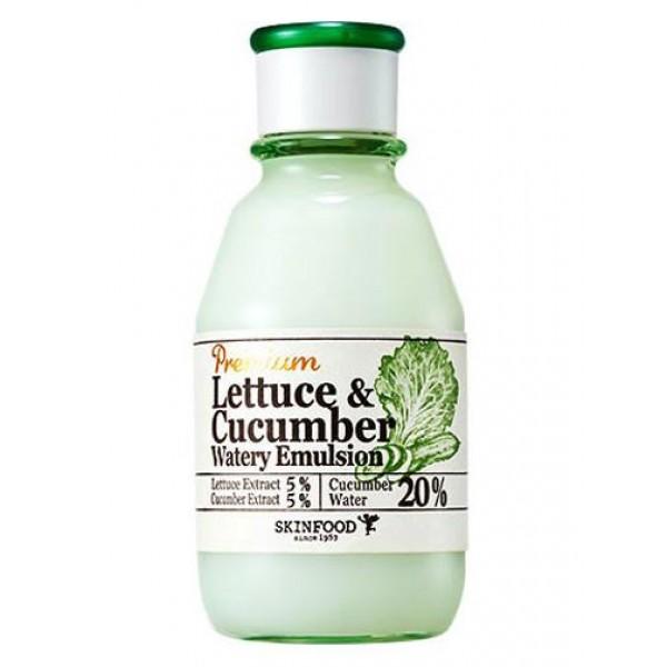 эмульсия увлажняющая с экстрактами огурца и салата skin food  premium lettuce &amp; cucumber watery emulsionPremium Lettuce &amp;amp; Cucumber Watery Emulsion.&amp;nbsp;Эмульсия увлажняющая с экстрактами огурца и салата<br><br>Увлажняющая эмульсия – идеальное косметическое средство для любой кожи – прекрасно освежает ее, выравнивает тон, уменьшает покраснения, уменьшает выраженность отеков, великолепно смягчает и тонизирует.<br><br>Основными компонентами являются:<br><br>Экстракт огурца – обладает вяжущими свойствами, устраняет раздражения, освежает и смягчает кожу, бережно осветляет ее и отлично выравнивает тон, заживляет повреждения.<br><br>Огуречная вода – хорошо усваивается клетками, задерживает влагу во всех слоях кожи, а также мягко очищает ее.<br><br>Экстракт листьев салата – борется с акне, сокращает количество выделяемого кожного жира, повышает иммунные функции и оберегает от внешних воздействий, оказывает антиоксидантный эффект.<br><br>После нанесения эмульсии кожа становится свежей и выглядит отдохнувшей, к ней возвращается прежнее сияние. Средство обеспечит необходимое увлажнение кожи в летний период: быстро впитывается и оставляет только комфортные ощущения, хорошо сочетается с другими продуктами.<br><br>Эмульсия содержит ценные микроэлементы, которые важны для здоровья кожи. Она уменьшает выраженность отеков, успокаивает раздражения, делает кожу идеально чистой и гладкой.<br><br>Способ применения: Эмульсию нанести на кожу и распределить похлопывающими движениями.<br><br>Объем: 140 мл<br>