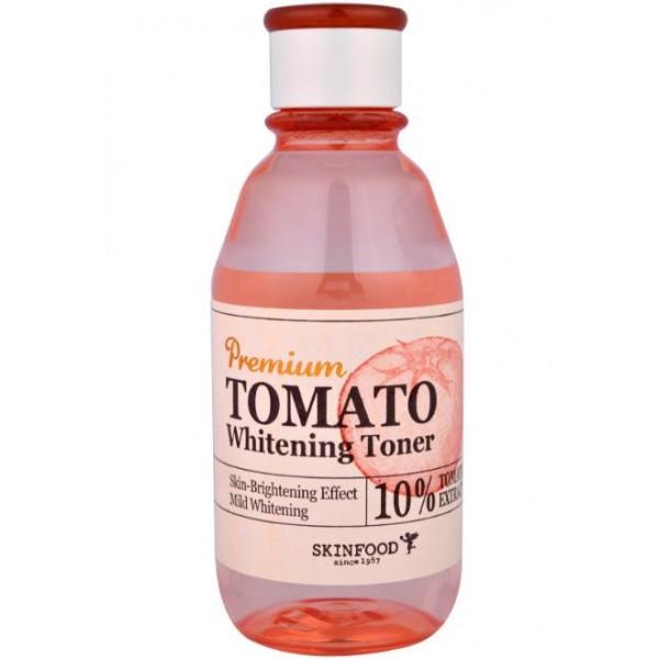 тонер осветляющий с экстрактом томата skin food  premium tomato whitening tonerPremium Tomato Whitening Toner.&amp;nbsp;Тонер осветляющий с экстрактом томата<br><br>Осветляющий тонер, который обеспечит коже деликатный и полноценный уход, а также очищение и увлажнение. Тонер рекомендуется применять сразу после умывания, чтобы избежать появления сухости и шелушений. Тонер мягко убирает мертвые клетки, ускоряет обновление кожи, отлично выравнивает ее тон.<br><br>Средство содержит такие натуральные ингредиенты, как:<br><br>Экстракт томата – лечит угревые высыпания, нормализует работу сальных желез, выводит вредные вещества и обновляет клетки. Томат деликатно осветляет пигментацию, делает тон идеально ровным, а кожу подтянутой.<br><br>Экстракт лотоса – снимает раздражения, укрепляет клетки, устраняет воспаления, улучшает кровоснабжение, предупреждает раннее старение кожи.<br><br>Керамиды – оберегают кожу и возвращают утраченную упругость.<br><br>Экстракт софоры – обновляет кожу, сохраняет ее эластичность и обеспечивает антиоксидантный эффект.<br><br>Тонер очищает кожу и готовит ее к дальнейшему уходу, обеспечивает лучшее усвоение активных веществ. При постоянном применении средства кожа становится идеально гладкой, чистой, мягкой и сияющей.<br><br>Способ применения: Смочить тонером ватный диск и протереть лицо мягкими движениями.<br><br>Объем: 180 мл<br>