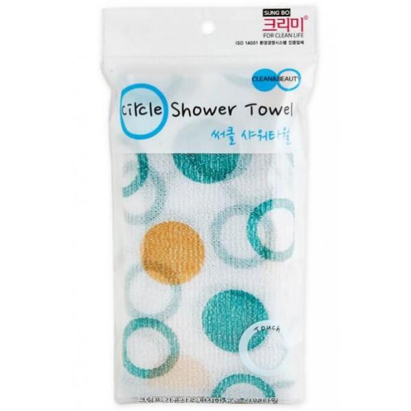 мочалка для душа sungbo cleamy circle shower towelCircle Shower Towel. Мочалка для душа<br><br>Мочалка, очищающая и массирующая кожу тела, создана из нейлона с добавлением полиэстера. Особая вязка, гофрированное, достаточно шероховатое полотно обеспечивает эффективное и при этом безболезненное отшелушивание мертвых огрубевших клеток кожи без повреждения здоровой.<br><br>Легко массируя кожу, мочалка образует равномерное распределение пены по телу, легко вычищает из пор загрязнения, стимулируя кровообращение в тканях, усиливает их снабжение кислородом и повышает тонус, мягкая и стойкая пена обеспечивает лучшее очищение и легкость после водных процедур.<br><br>Удобный размер и форма мочалки обеспечивают великолепное очищение и интенсивный массаж кожи. Мягкая пена, которая образуется с помощью мочалки легко вычищает из пор загрязнения.<br><br>Сложив мочалку вдвое, можно пользоваться ей как губкой, пены будет больше, а контакт с кожей будет еще деликатней. Для получения пены необходимо очень немного геля или любого другого подобного средства, пена получается очень стойкая и мягкая.<br><br>Способ применения: Намочить водой мочалку, добавить гель, вспенить, пену нанести на тело, распространить, затем пену смыть, а мочалку прополоскать и просушить.<br><br>Размер: 28 х 95 мм<br><br>Вес г: 10.00000000
