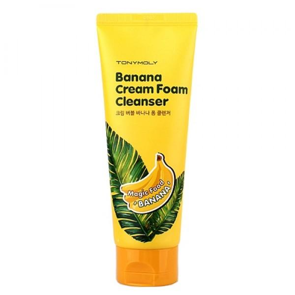 крем-пенка для умывания банановая tony moly magic food banana cream foam cleanserMAGIC FOOD BANANA CREAM FOAM CLEANSER. Крем-пенка для умывания банановая - мягкая, нежная и очень ароматная пенка. <br><br>Обильная пена с тысячью пузырьков способствует эффективному очищению даже самой чувствительной кожи, смывает с ее поверхности загрязнения и макияж. Кроме того, пенка великолепно ухаживает за кожей лица. <br><br>В составе сочной мякоти банана целый комплекс витаминов, минералов, полезных кислот и других питательных компонентов, которые делают кожу упругой, молодой и красивой. Банановая пенка оказывает глубокое увлажняющее и питательное действие, успокаивает кожу, способствует нормализации клеточного обмена, выводит шлаки и токсины, помогает уменьшить количество и глубину морщин, надежно защищает кожу от неблагоприятных воздействий внешней среды. <br><br>Также в составе пенки экстракт ромашки, который оказывает бактерицидное, противовоспалительное и успокаивающее действие, а также стимулирует кровообращение, ускоряет регенерацию клеток, выравнивает и осветляет тон кожи. <br><br>Пенка с бананом и ромашкой подходит для кожи любого типа, особенно рекомендуется для сухой и вялой кожи. <br><br>Способ применения: Вспенить средство и нанести массажными движениями на влажную кожу лица, затем смыть теплой водой.<br>